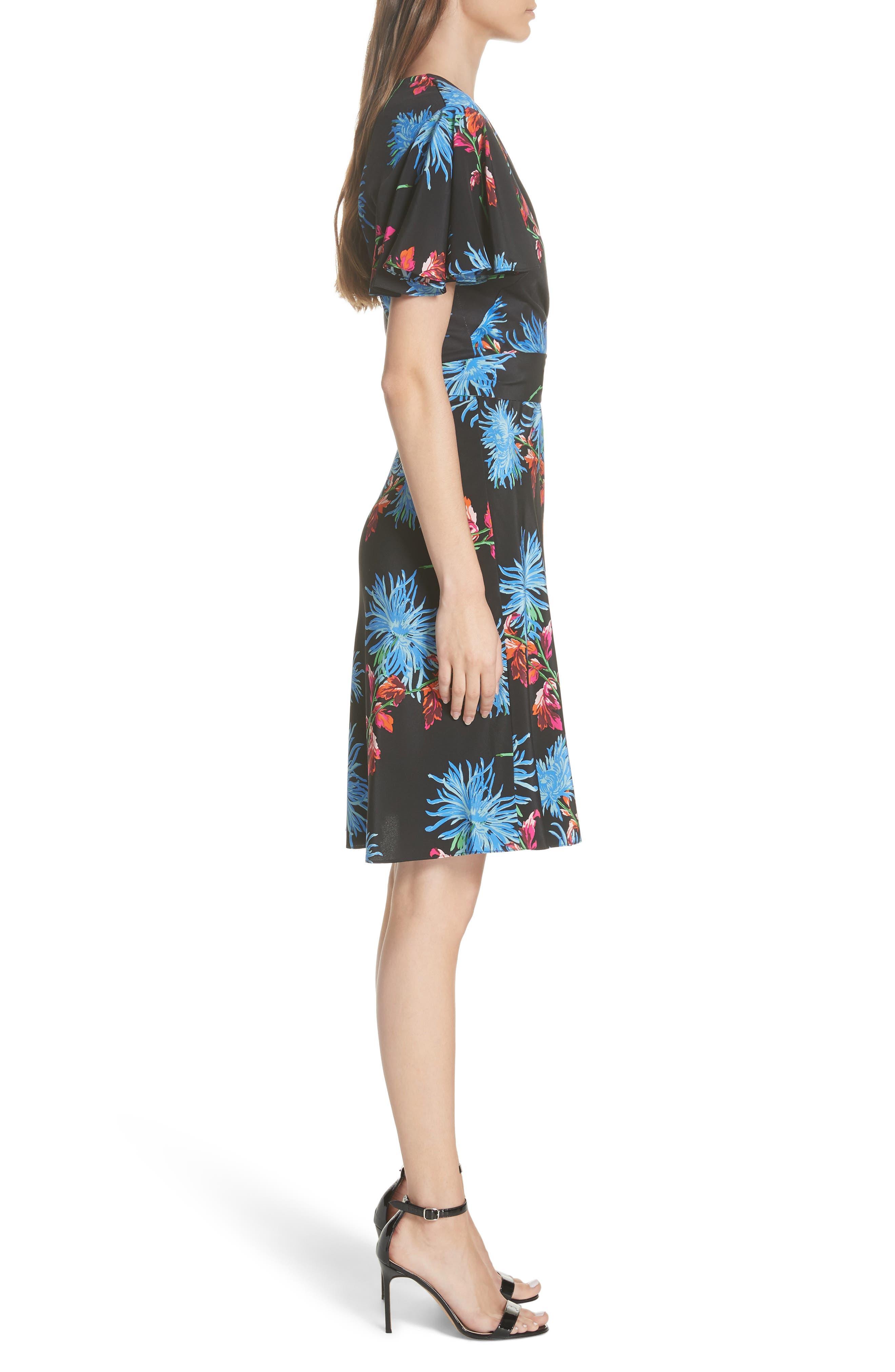 Diane von Furstenberg Flutter Sleeve Silk Wrap Dress,                             Alternate thumbnail 3, color,                             HEWES BLACK