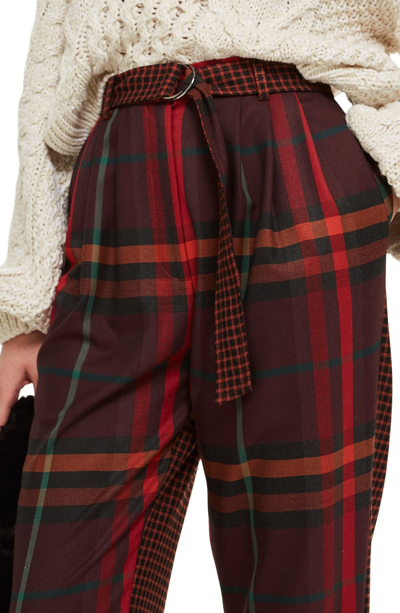 Belted Mixed Check Peg Trousers,                             Alternate thumbnail 4, color,                             RED MULTI