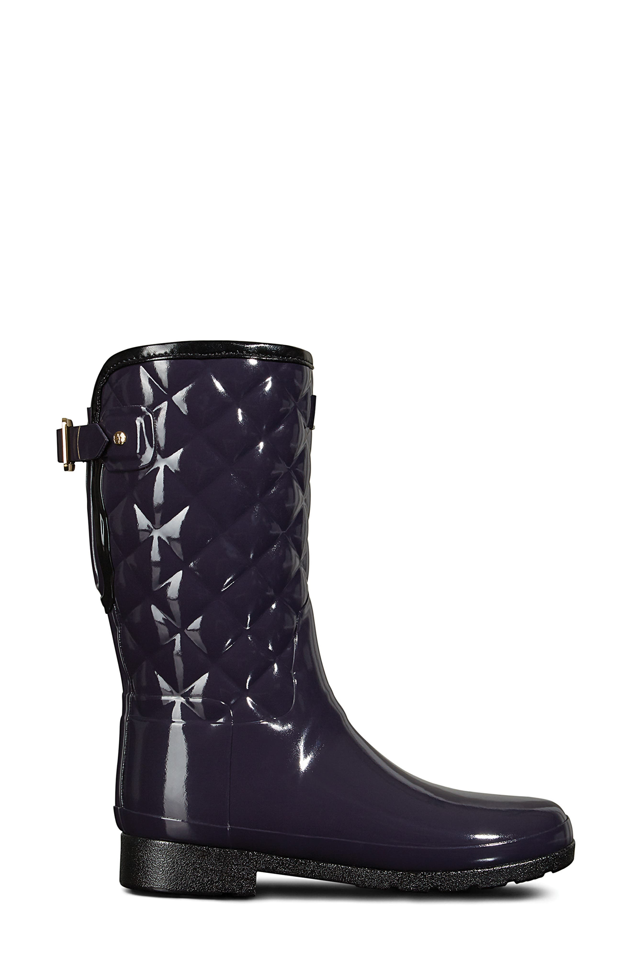 Refined High Gloss Quilted Short Rain Boot,                             Alternate thumbnail 3, color,                             AUBERGINE