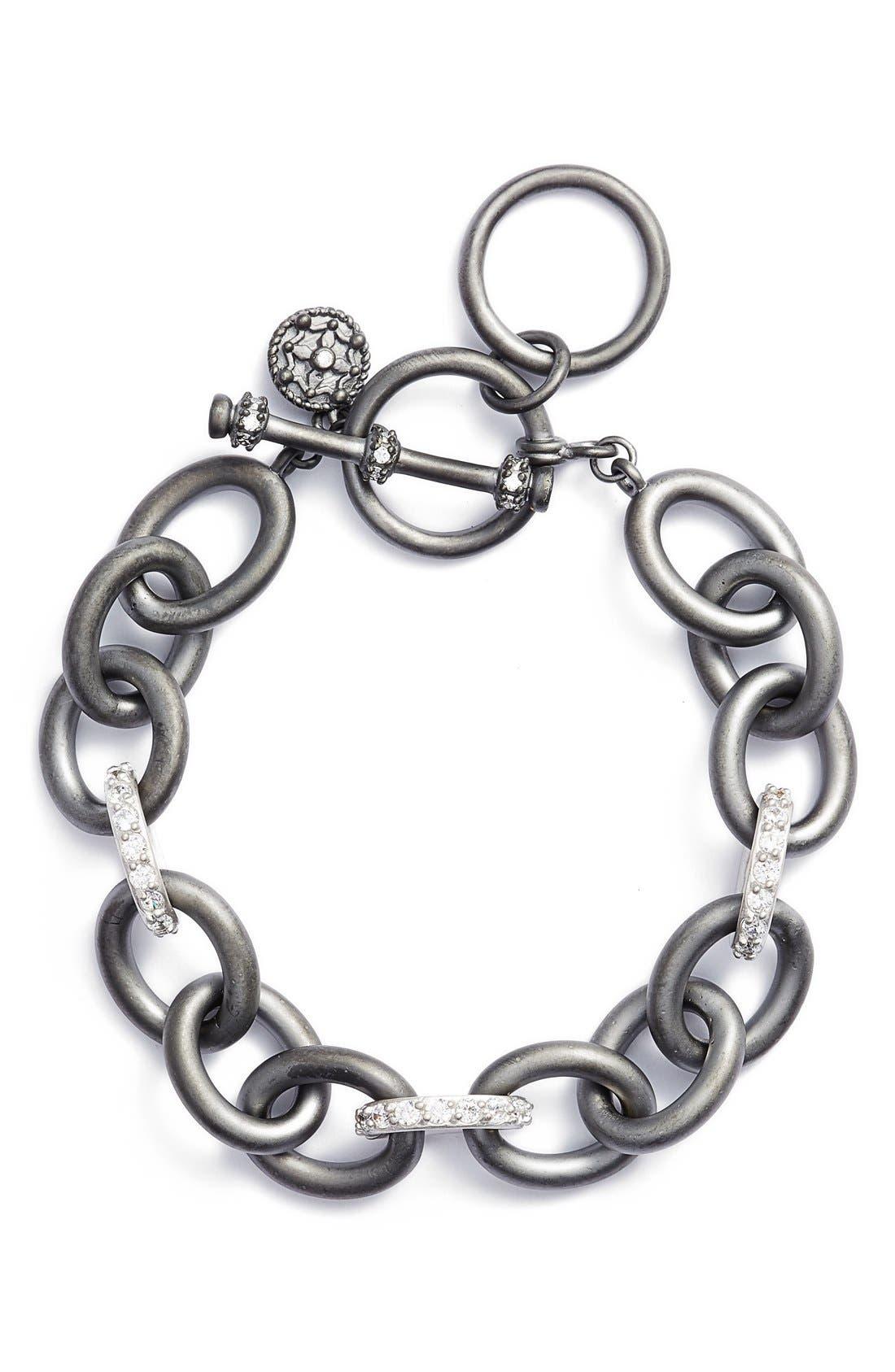 Contemporary Deco Heavy Chain Bracelet,                             Main thumbnail 1, color,                             GUNMETAL/ SILVER