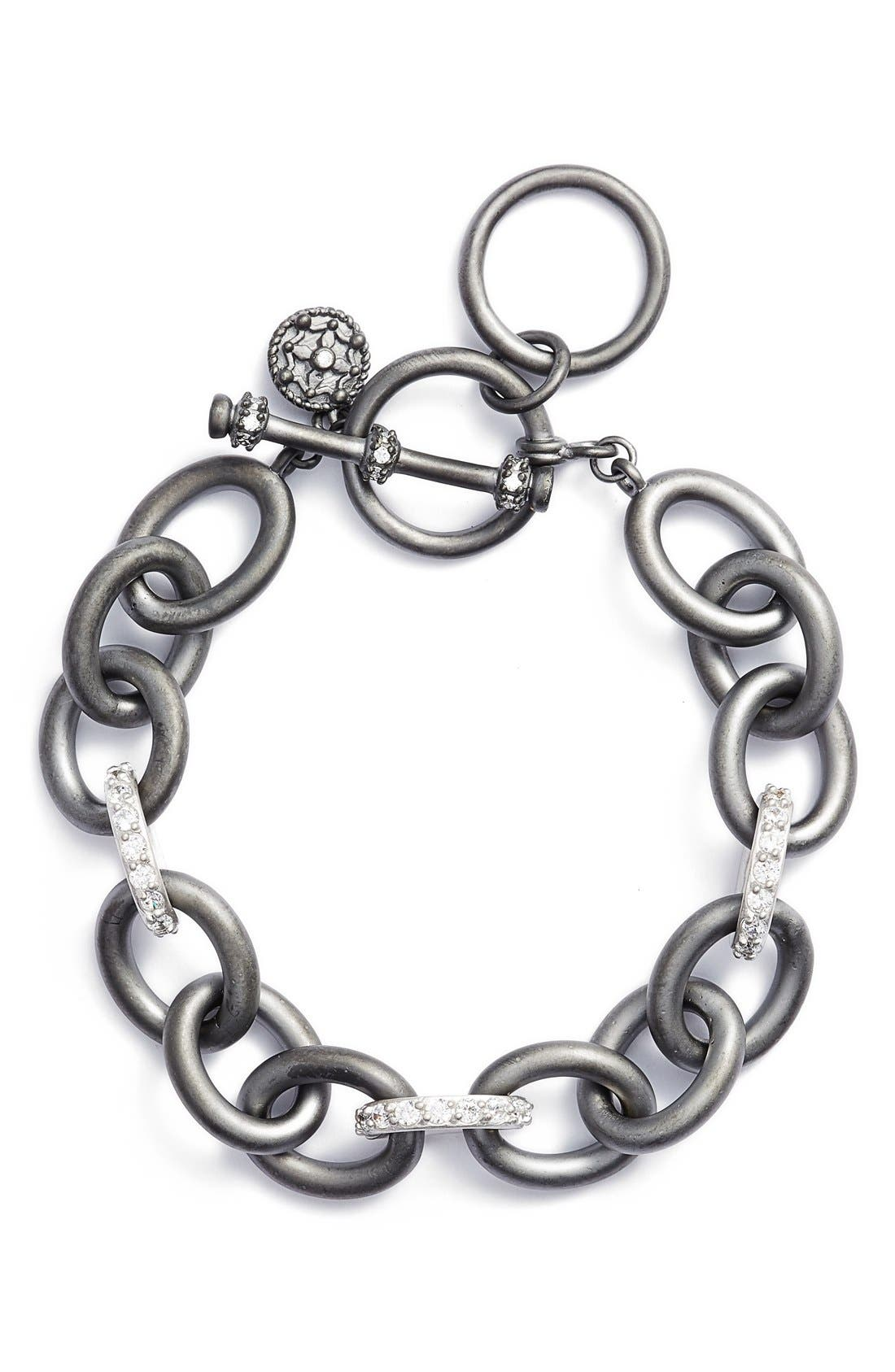 Contemporary Deco Heavy Chain Bracelet,                         Main,                         color, GUNMETAL/ SILVER