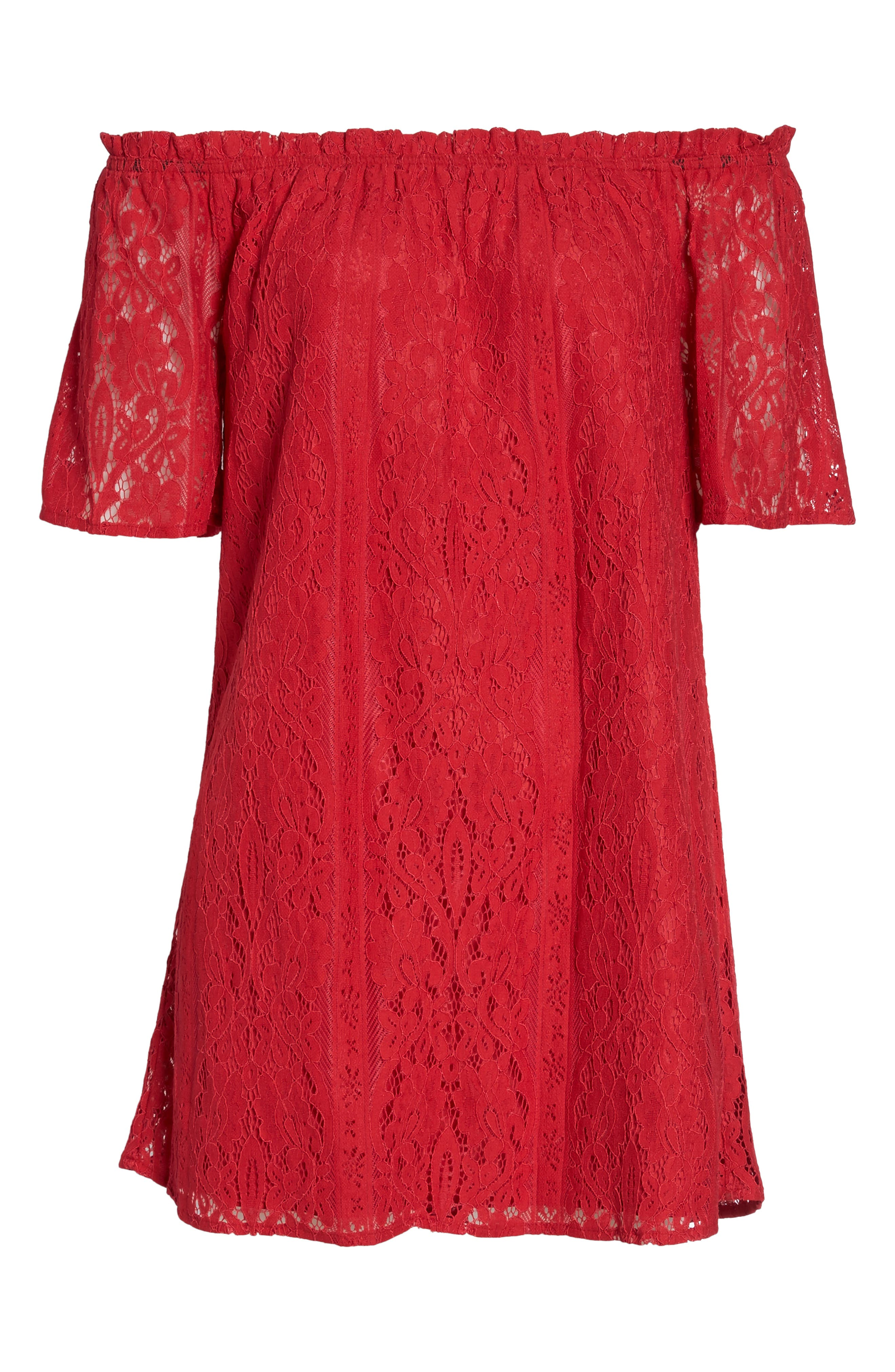 Erica Off the Shoulder Lace Shift Dress,                             Alternate thumbnail 6, color,                             600
