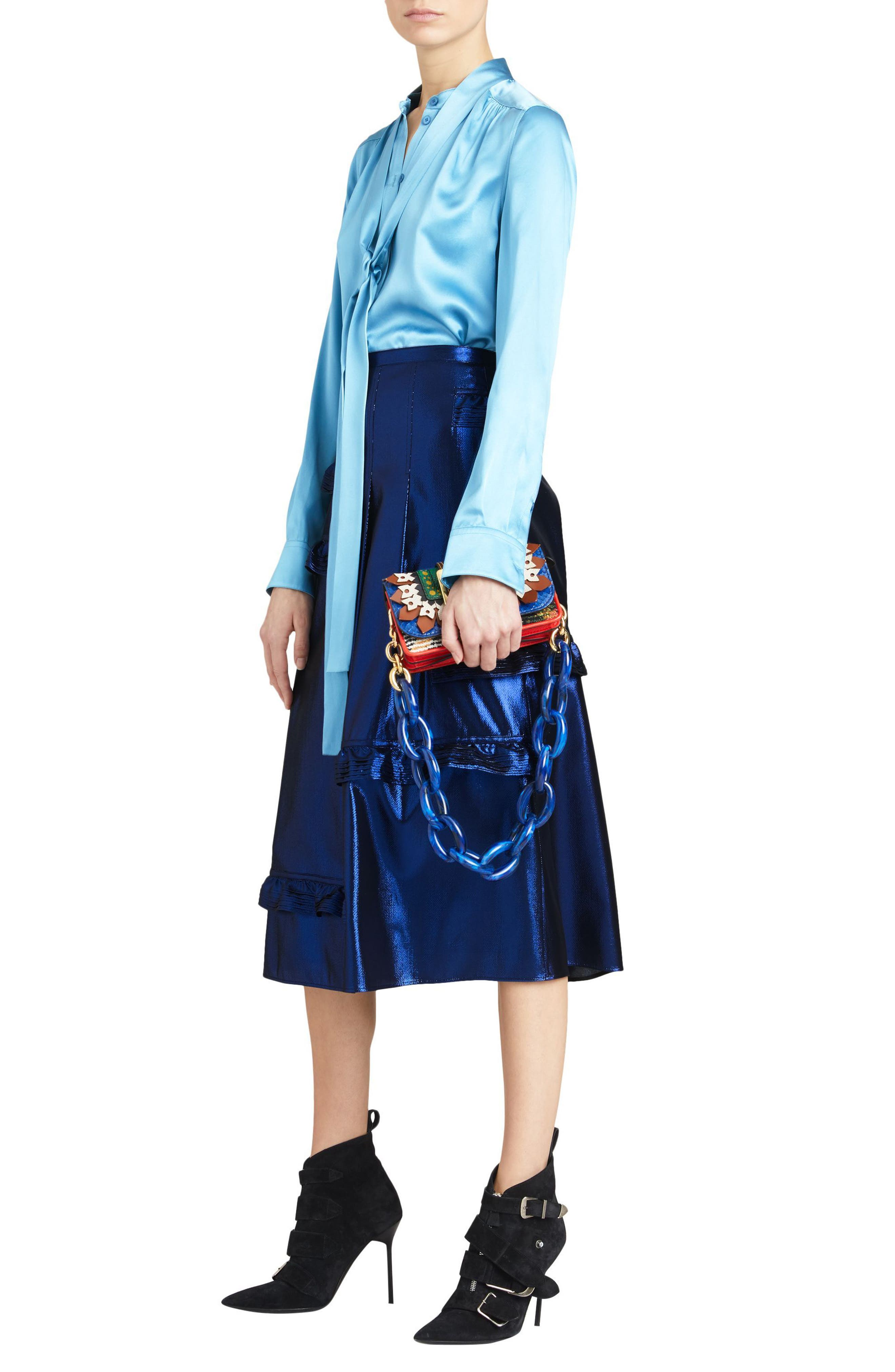 Merse Metallic Ruffle Skirt,                             Alternate thumbnail 5, color,                             410
