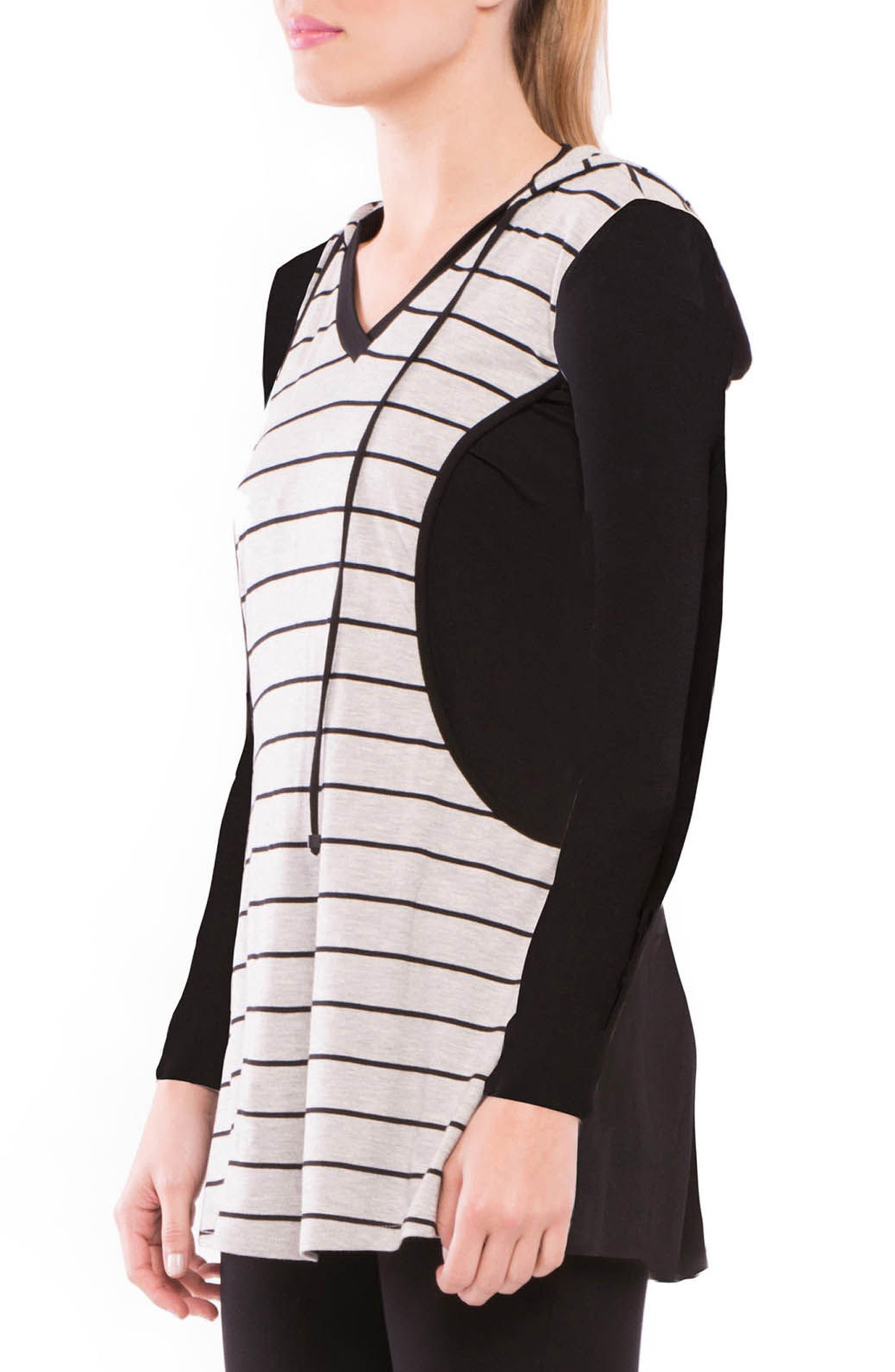 Skye Maternity/Nursing Hooded Tunic,                             Alternate thumbnail 4, color,                             GRAY/ BLACK STRIPE
