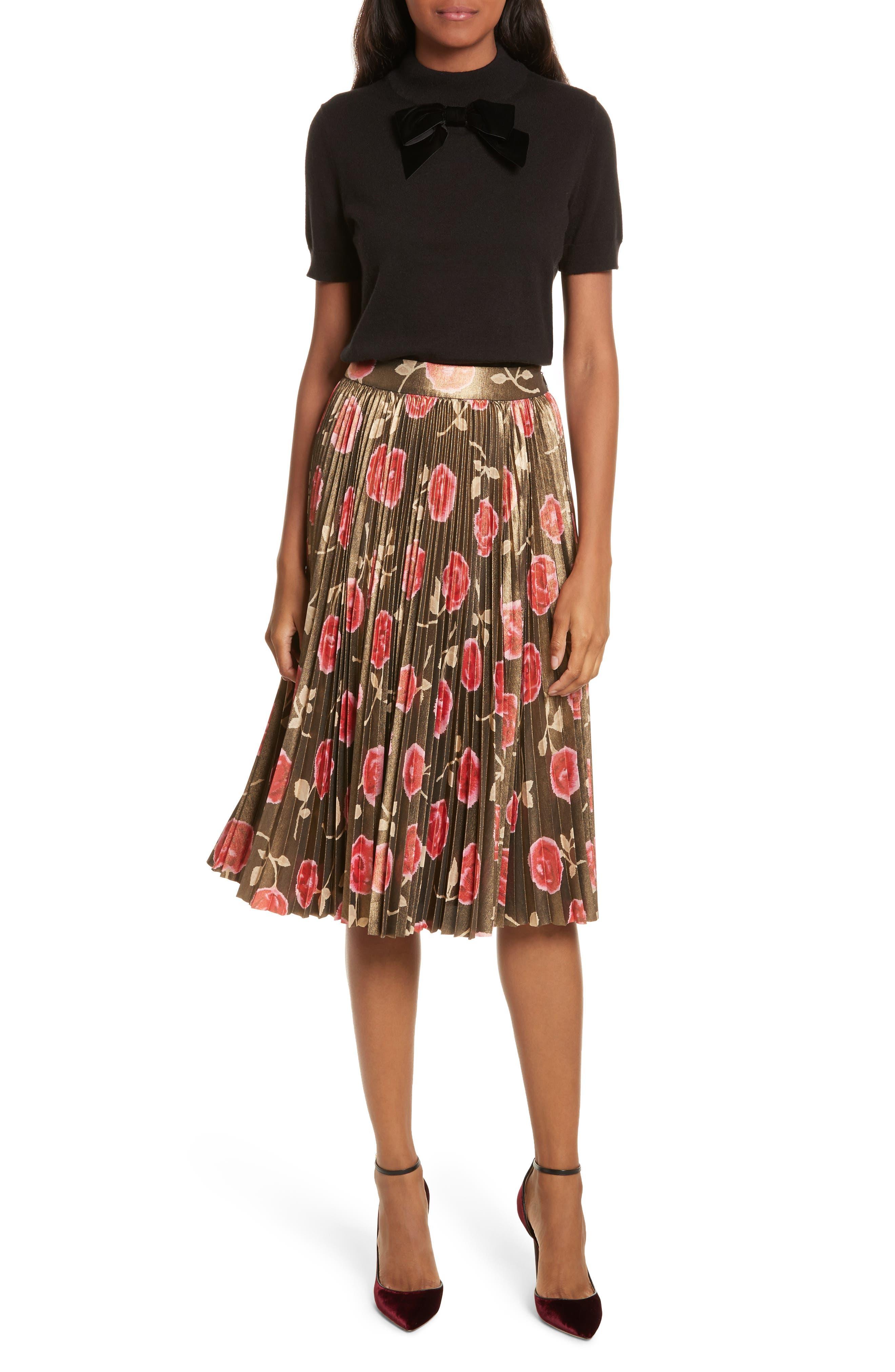 hazy rose pleated metallic skirt,                             Alternate thumbnail 7, color,                             006