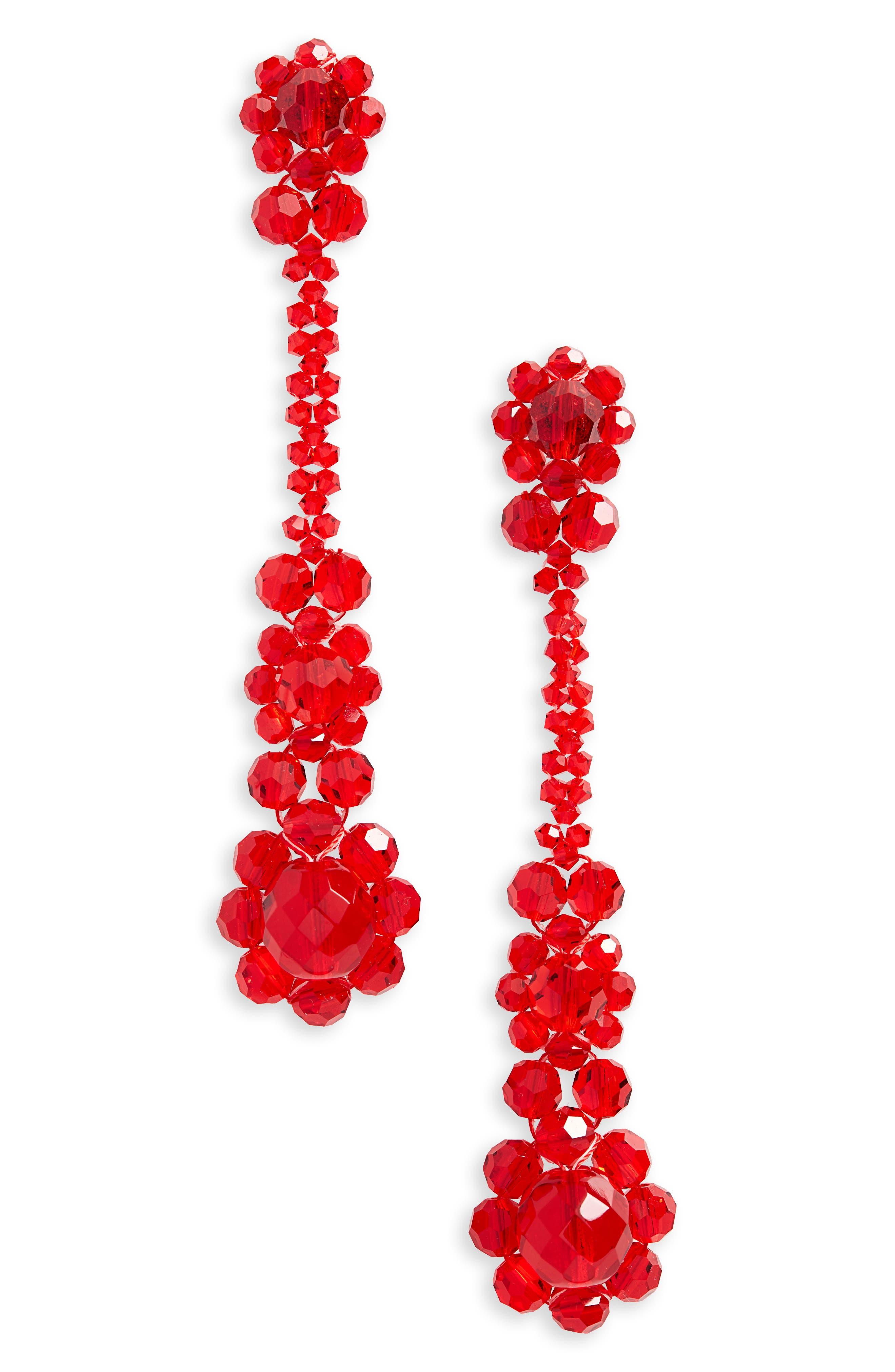 Crystal Drop Earrings,                         Main,                         color, RED