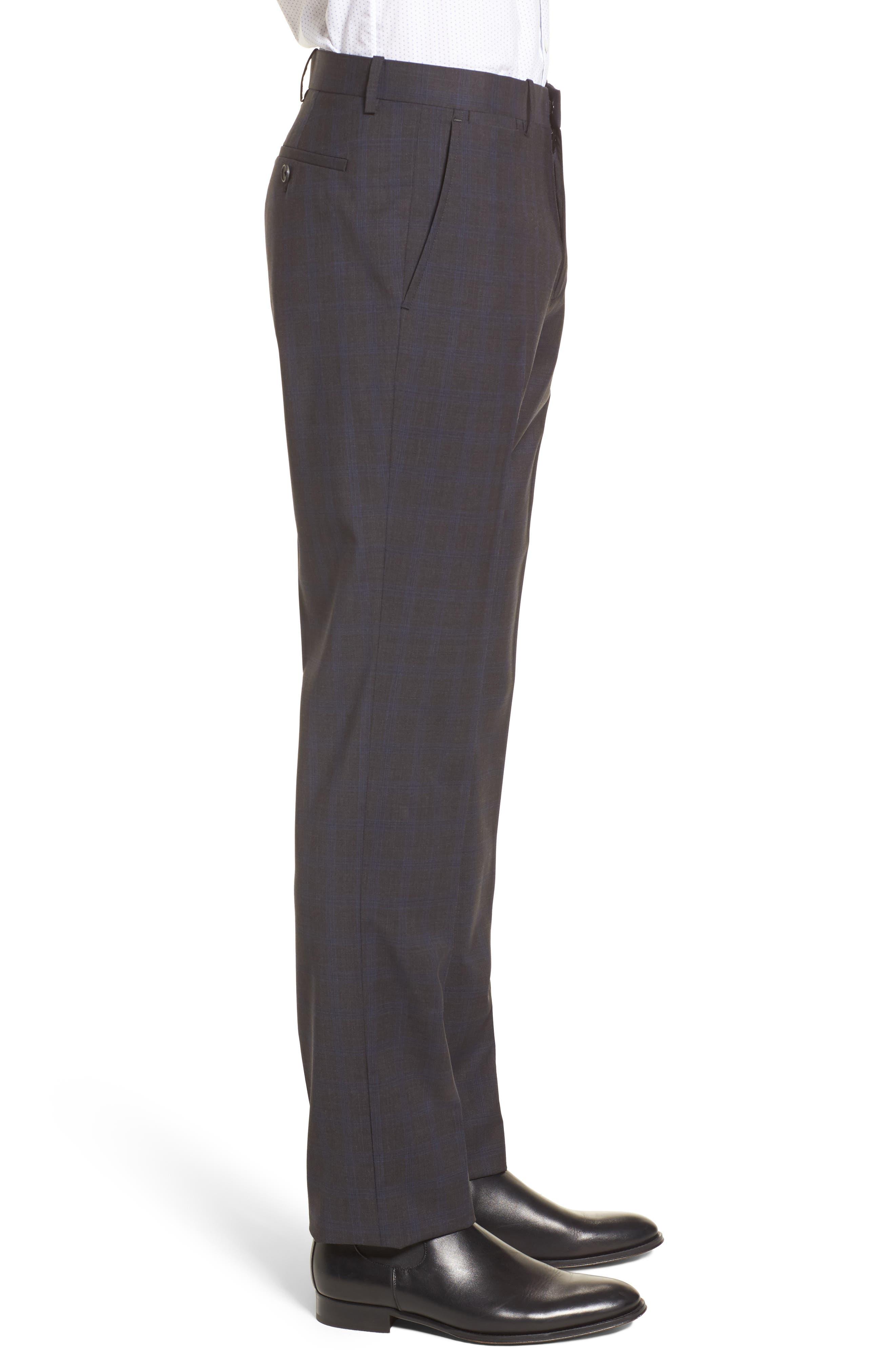 Marlo Trim Fit Tonal Plaid Trousers,                             Alternate thumbnail 3, color,                             053