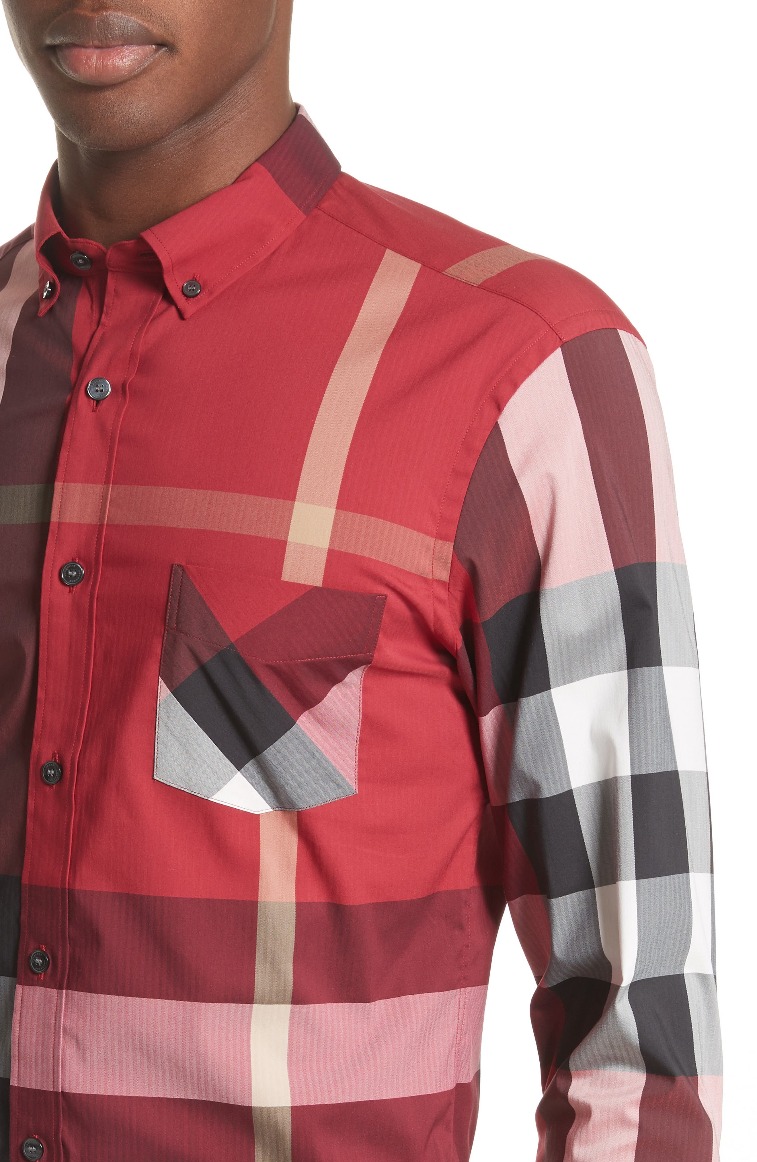 Thornaby Slim Fit Plaid Sportshirt,                             Alternate thumbnail 2, color,                             PARADE RED