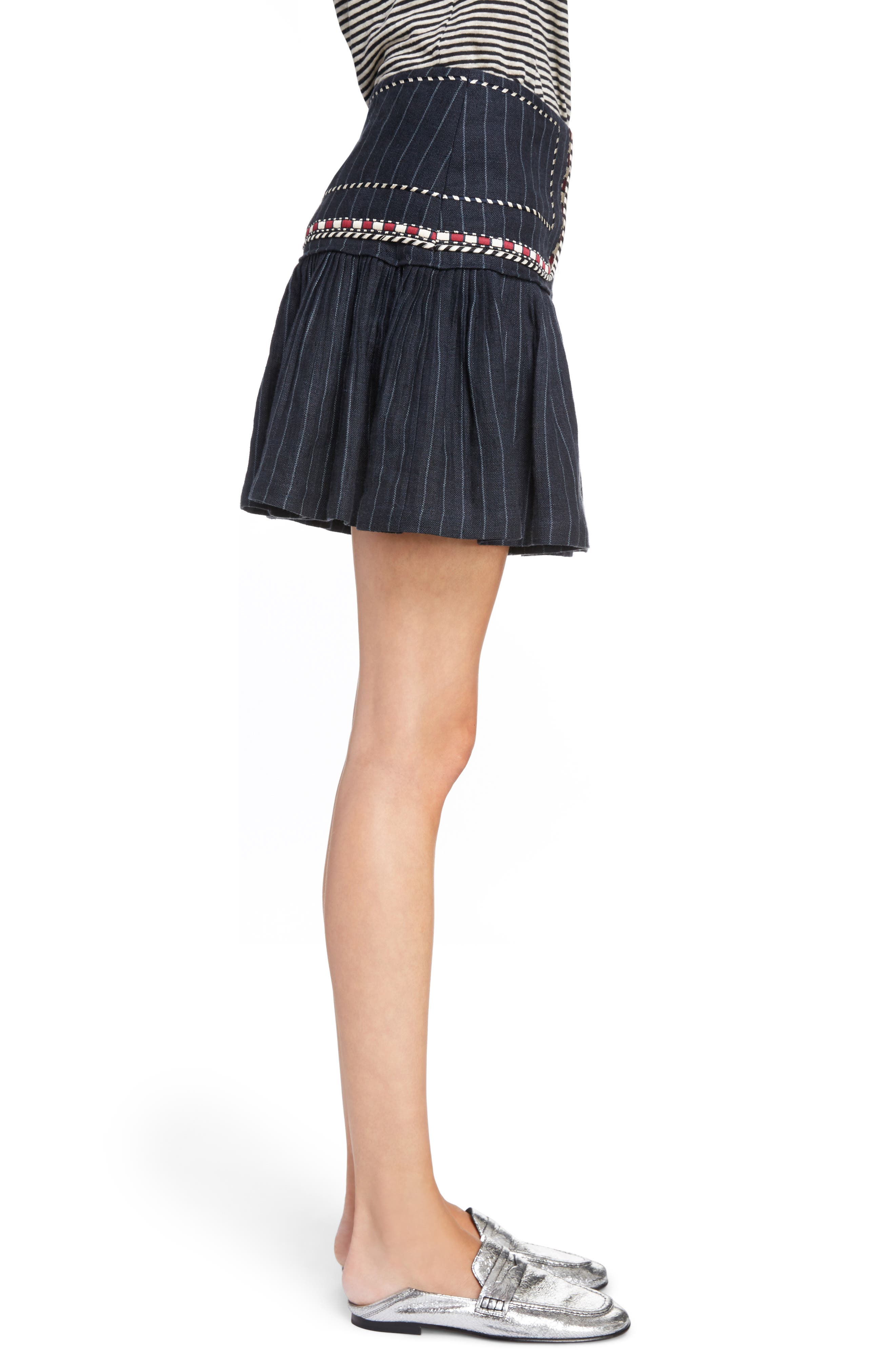 Isabel Marant Étoile Jessie Embroidered Linen Skirt,                             Alternate thumbnail 3, color,                             001