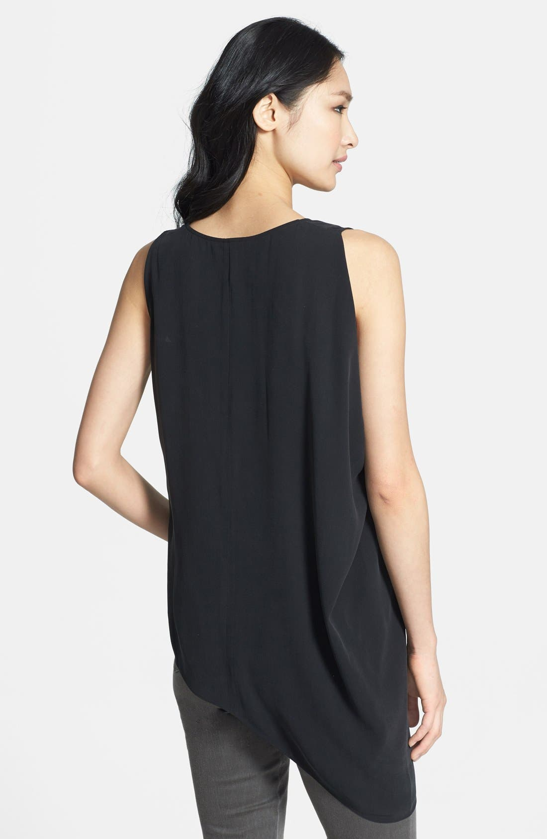 EILEEN FISHER,                             U-Neck Drape Side Silk Shell,                             Alternate thumbnail 3, color,                             001