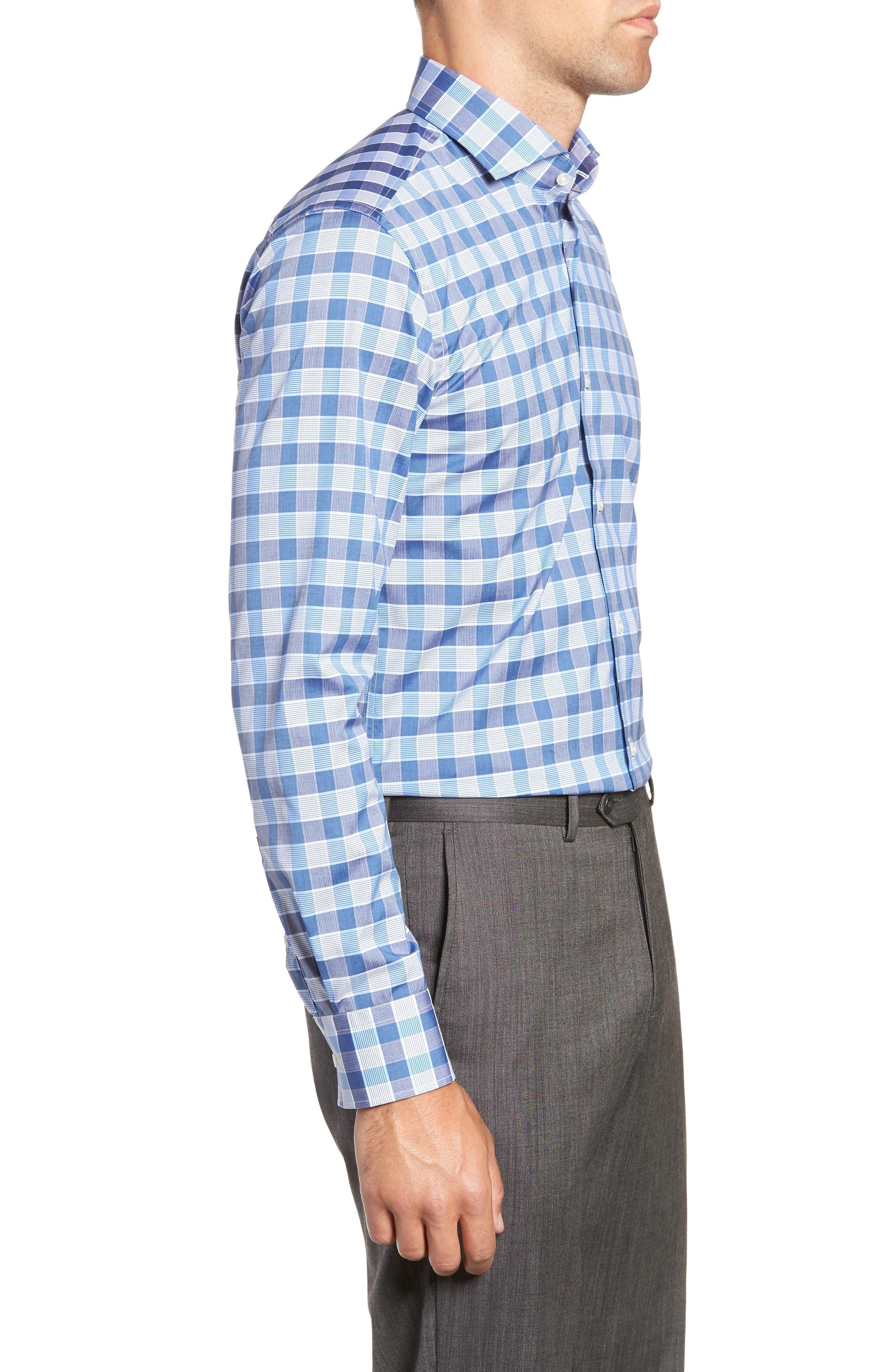 Jason Slim Fit Plaid Dress Shirt,                             Alternate thumbnail 4, color,                             BLUE