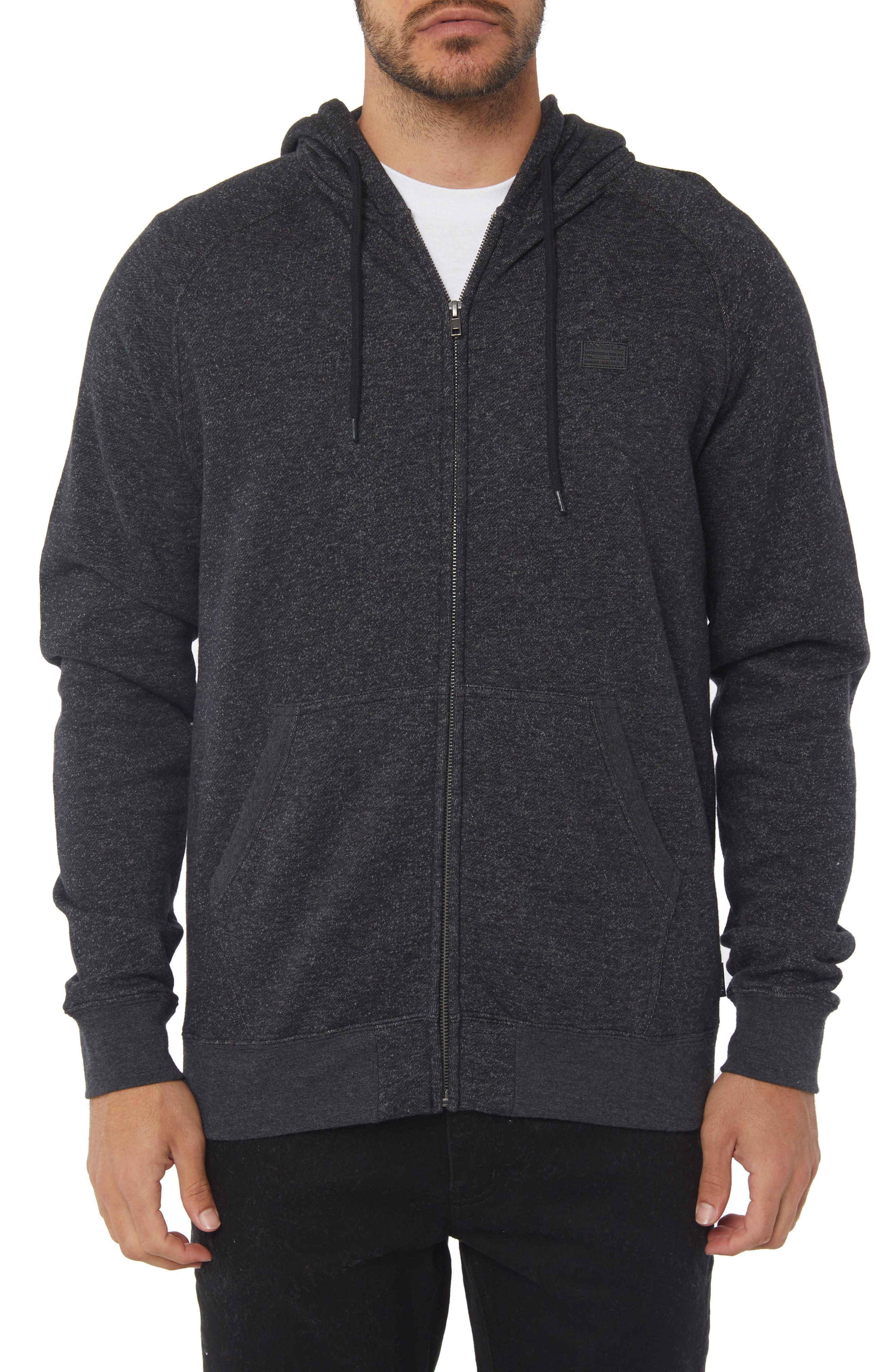 The Standard Zip Hoodie,                             Main thumbnail 1, color,                             HEATHER BLACK