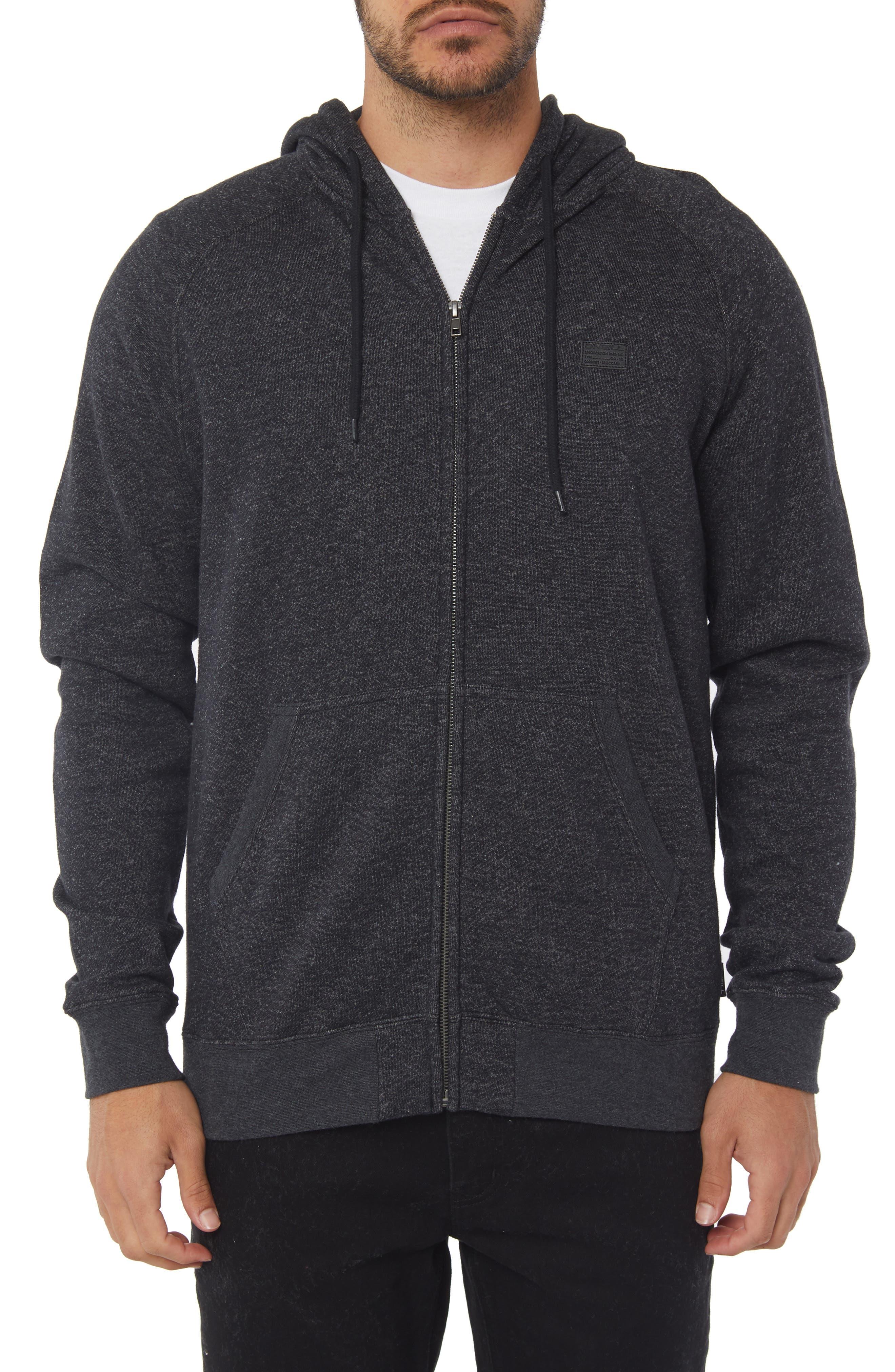 The Standard Zip Hoodie,                         Main,                         color, HEATHER BLACK