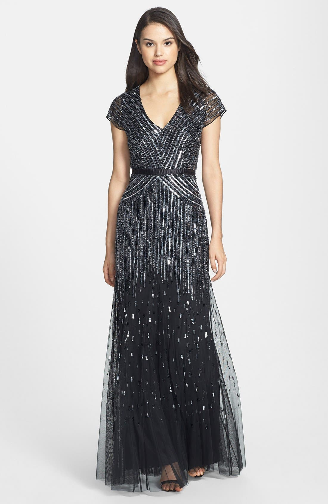ADRIANNA PAPELL Embellished Mesh Gown, Main, color, 001