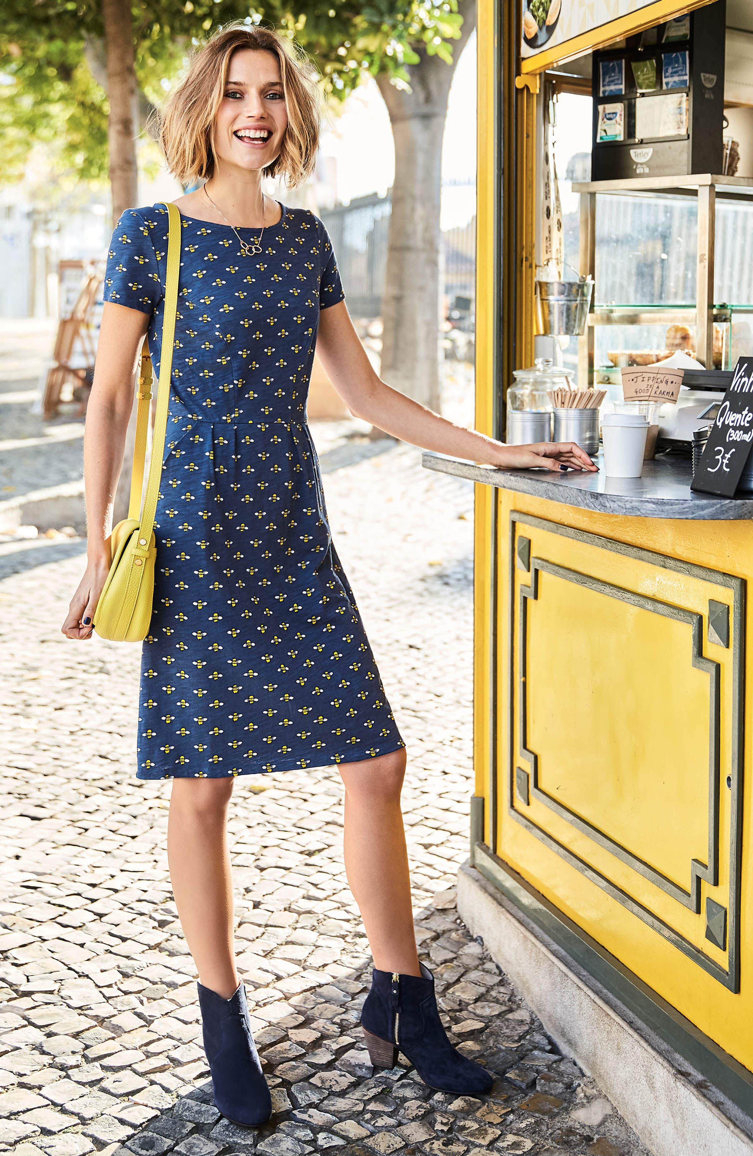 Phoebe Bird Print Jersey Dress,                             Alternate thumbnail 6, color,                             404