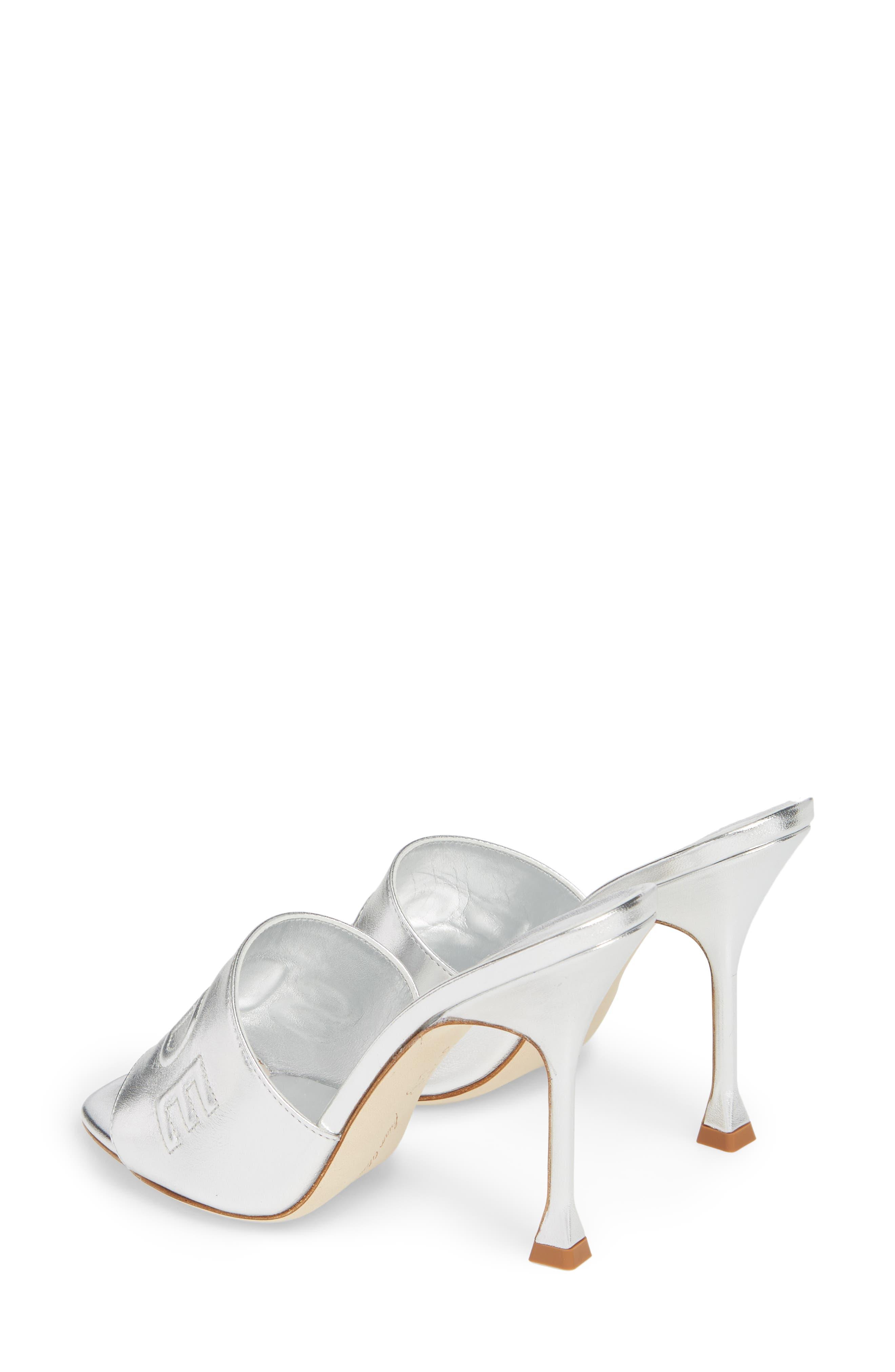 Spiagga Slide Sandal,                             Alternate thumbnail 3, color,                             SILVER METAL NAPPA