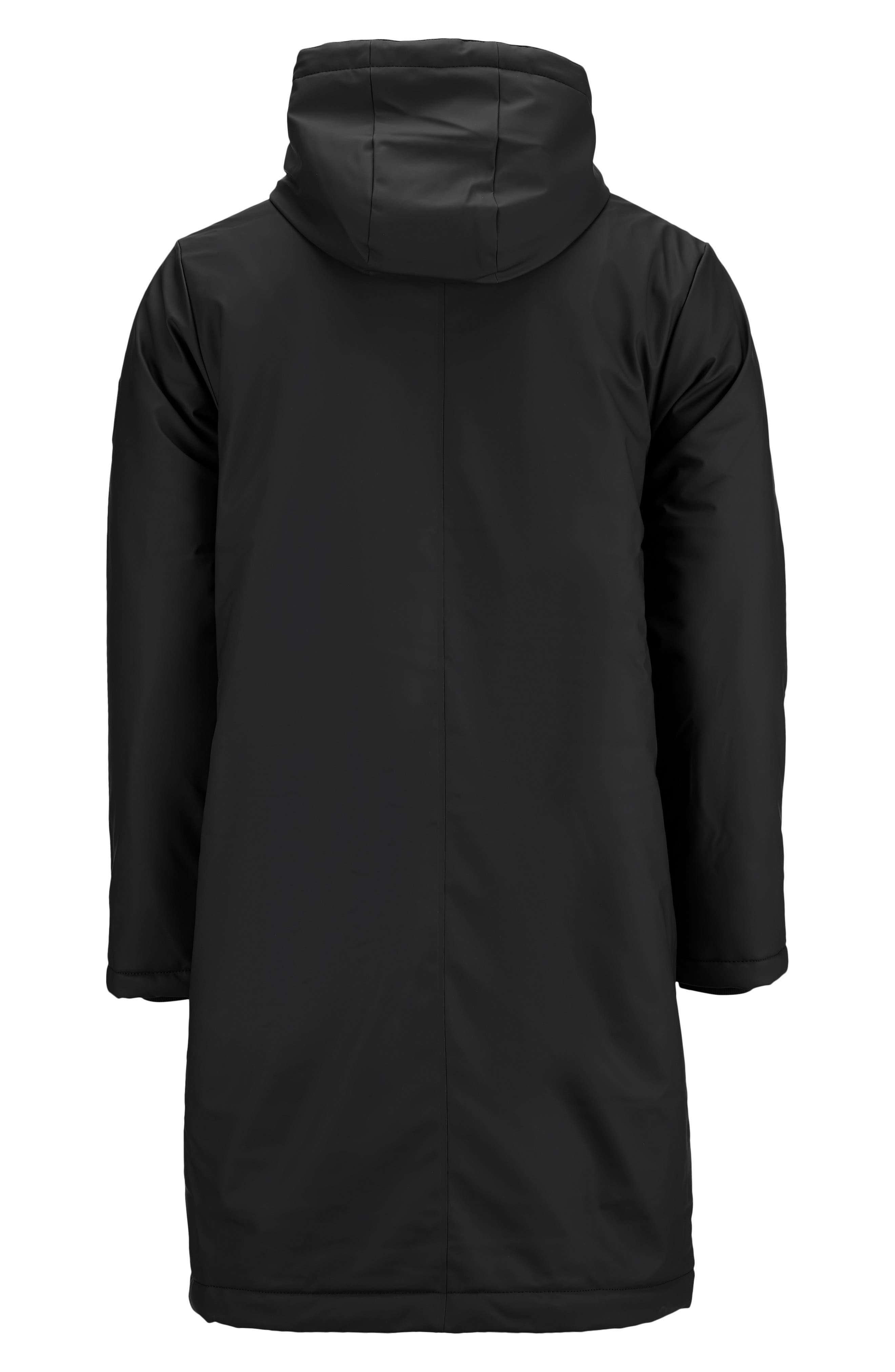 Thermal Hooded Raincoat,                             Alternate thumbnail 7, color,                             BLACK