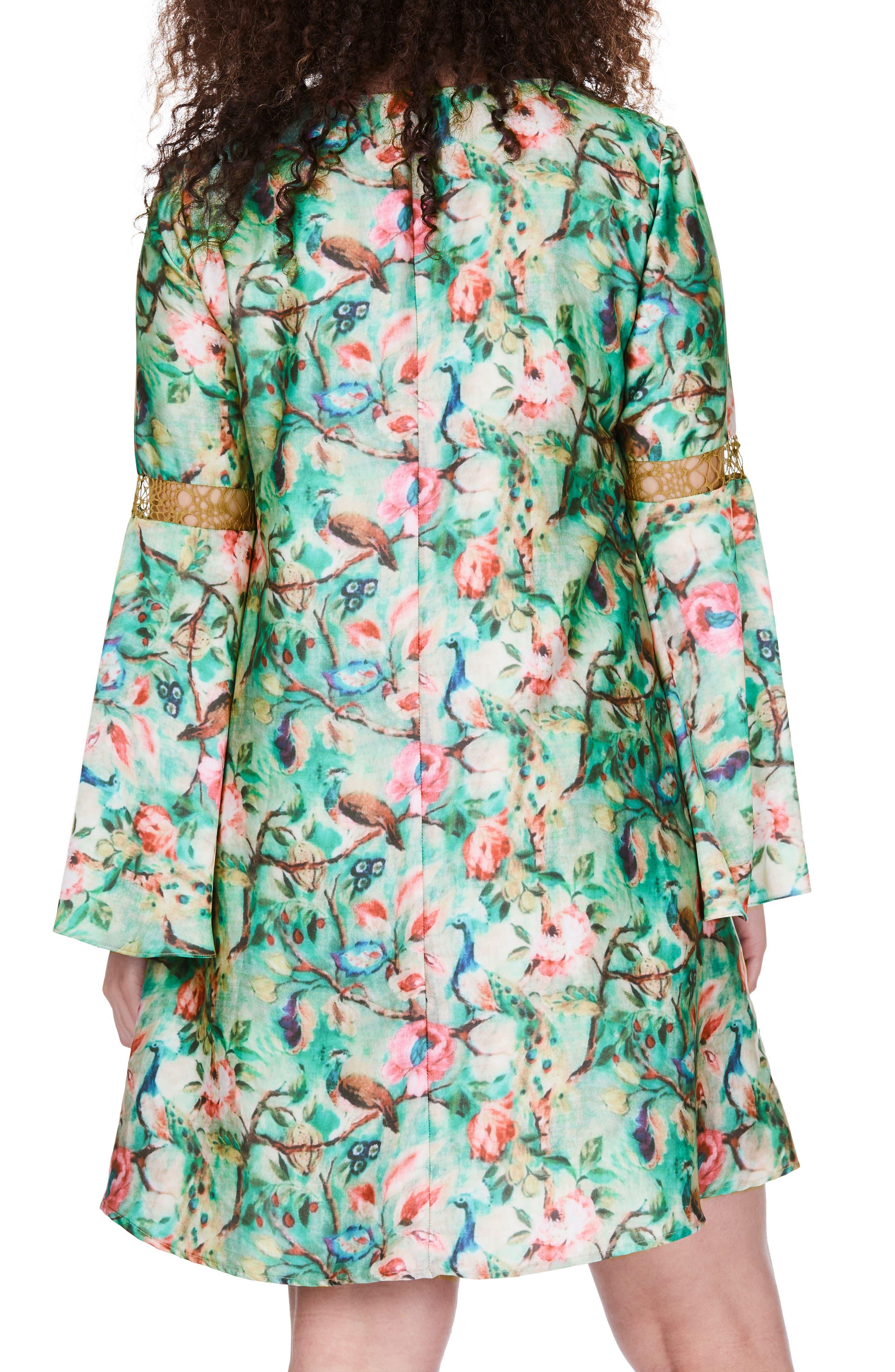 Bell Sleeve Floral Shift Dress,                             Alternate thumbnail 2, color,                             300
