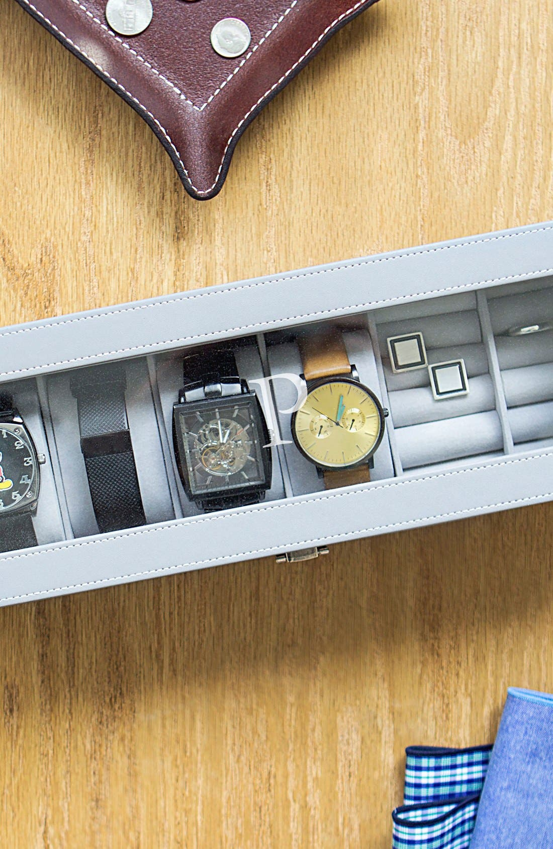 Monogram Watch & Jewelry Case,                             Alternate thumbnail 6, color,                             BLANK
