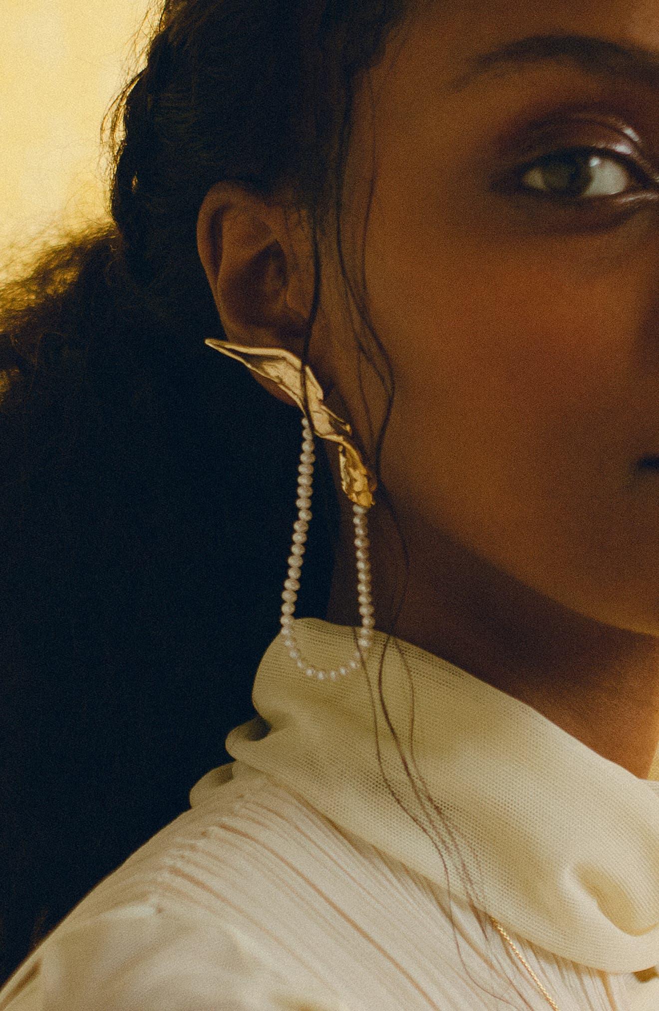 Folia Pearl Earring,                             Alternate thumbnail 3, color,                             BRONZE LEFT
