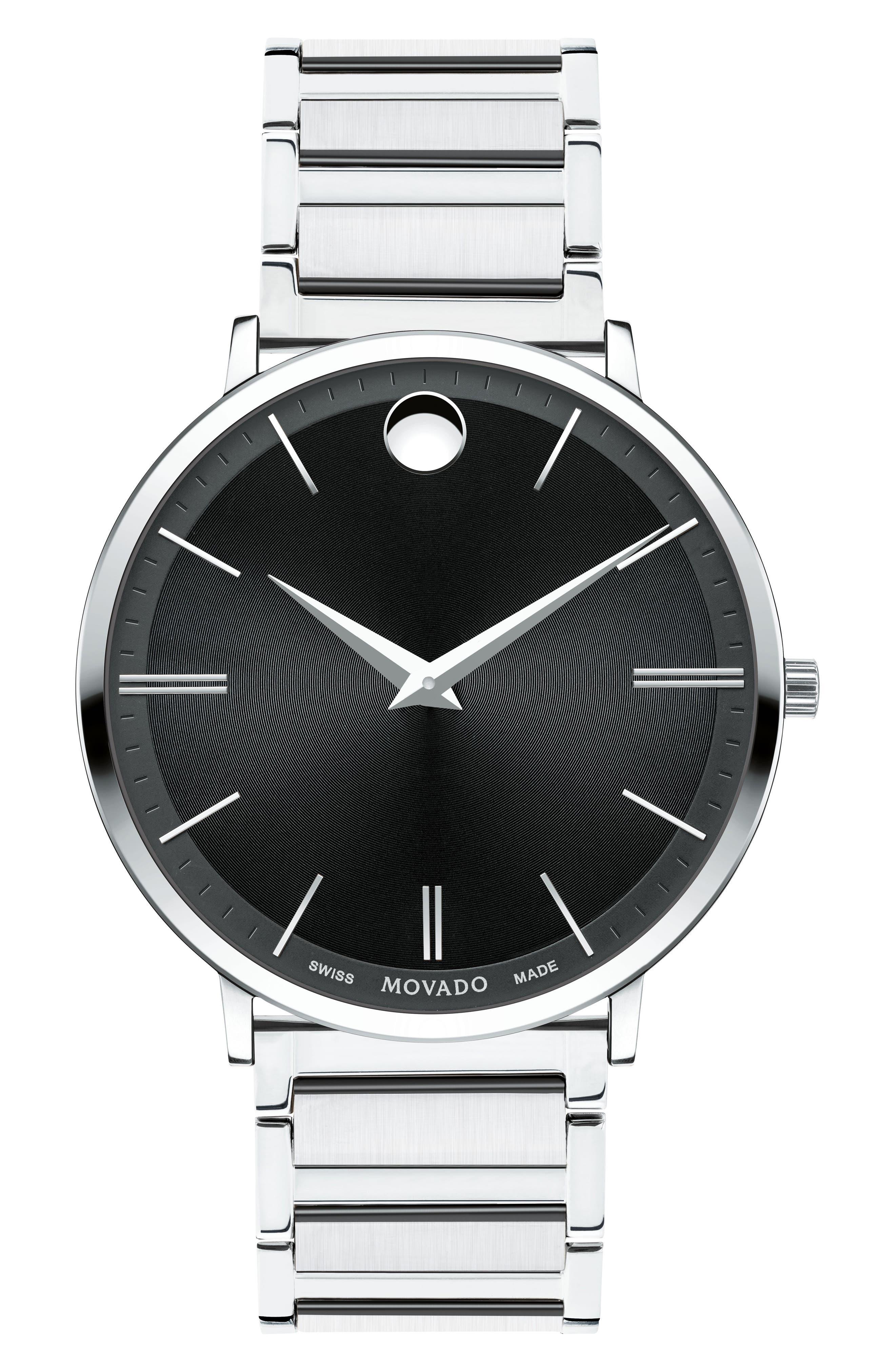 Ultra Slim Bracelet Watch, 40mm,                             Main thumbnail 1, color,                             SILVER/ BLACK/ SILVER