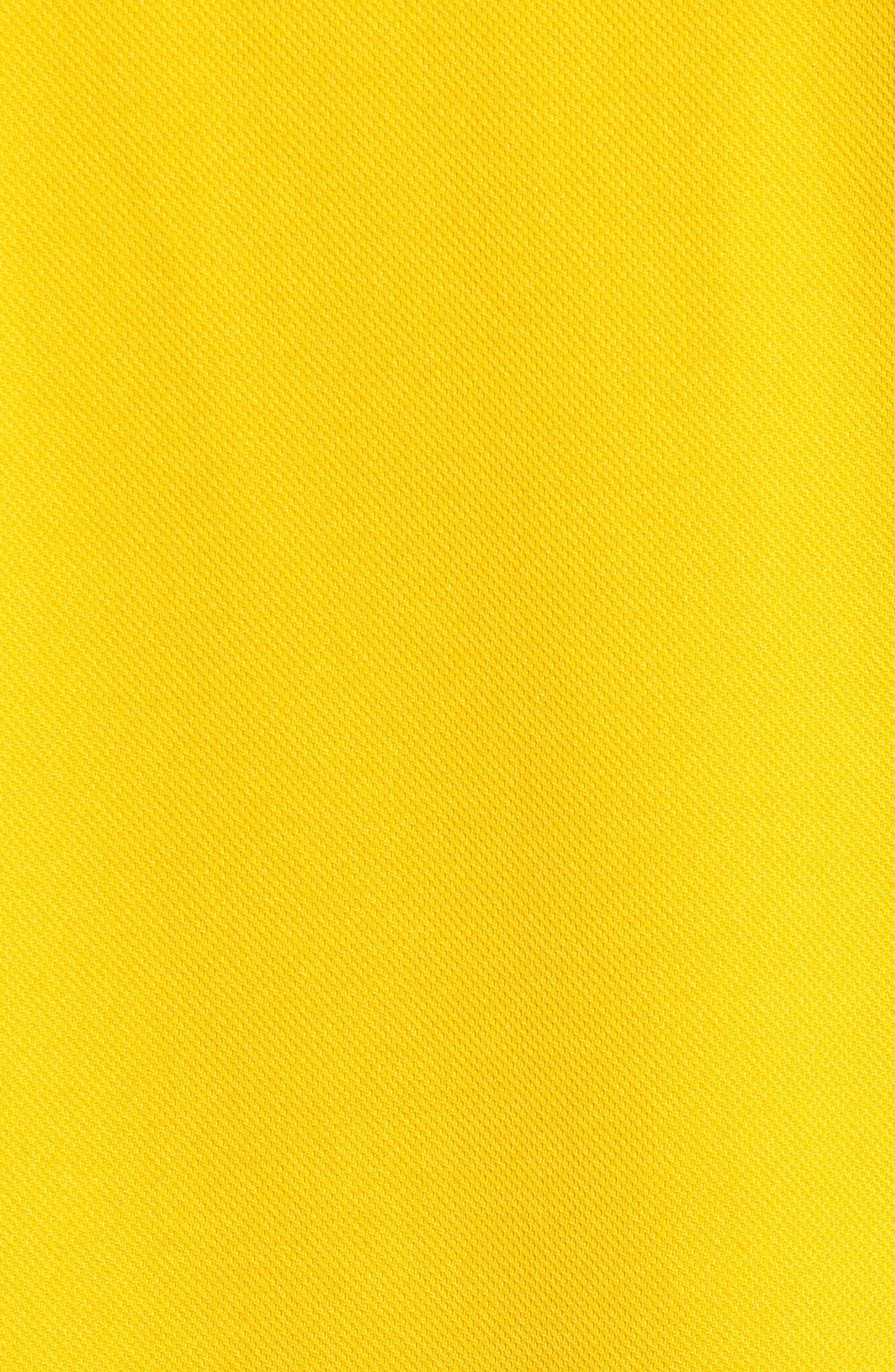 LACOSTE,                             Sport Piped Piqué Tech Polo,                             Alternate thumbnail 5, color,                             BUTTERCUP/ NAVY BLUE