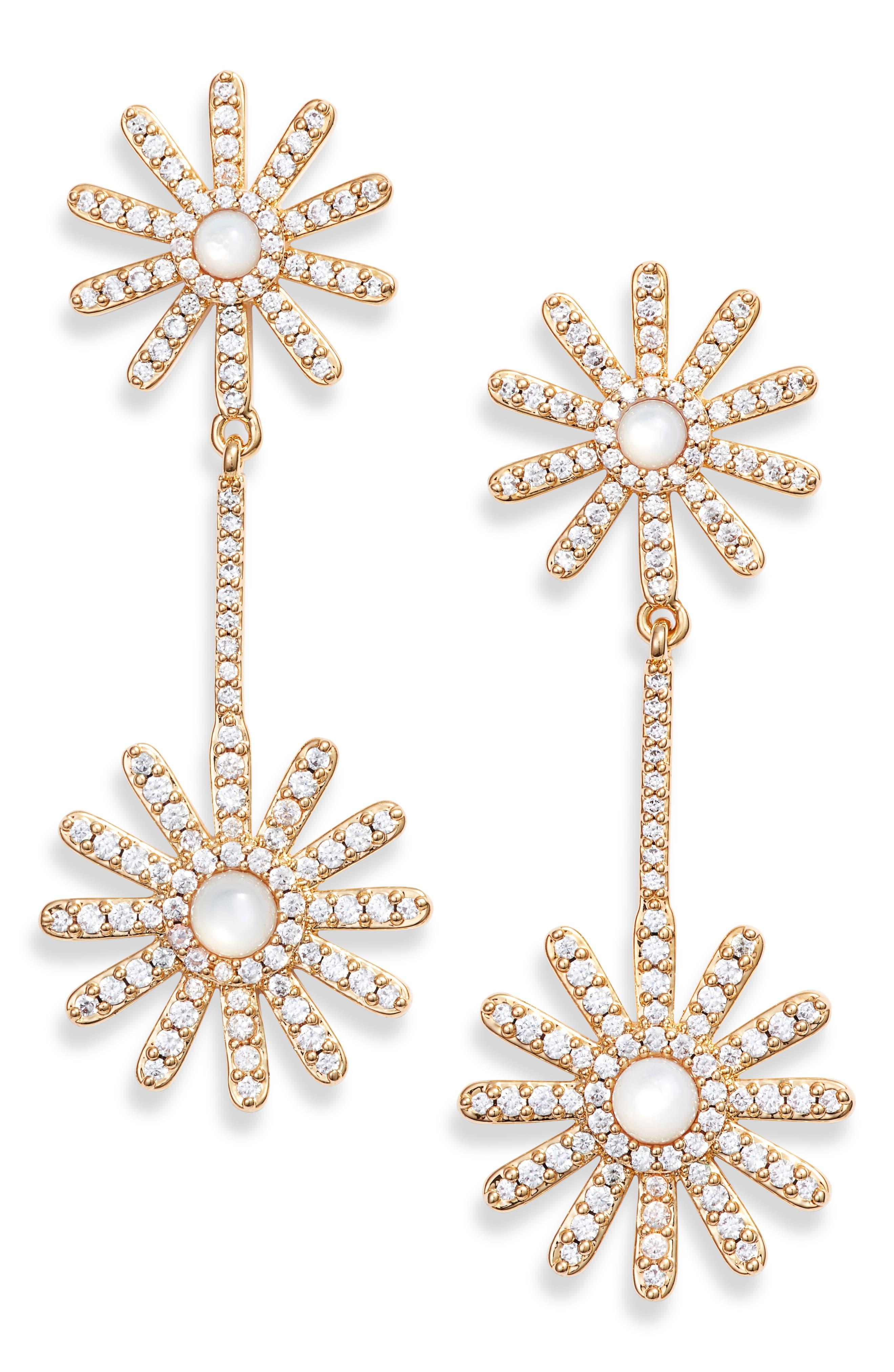 ASHA,                             Daisy Pavé Drop Earrings,                             Main thumbnail 1, color,                             MOTHER OF PEARL/ GOLD