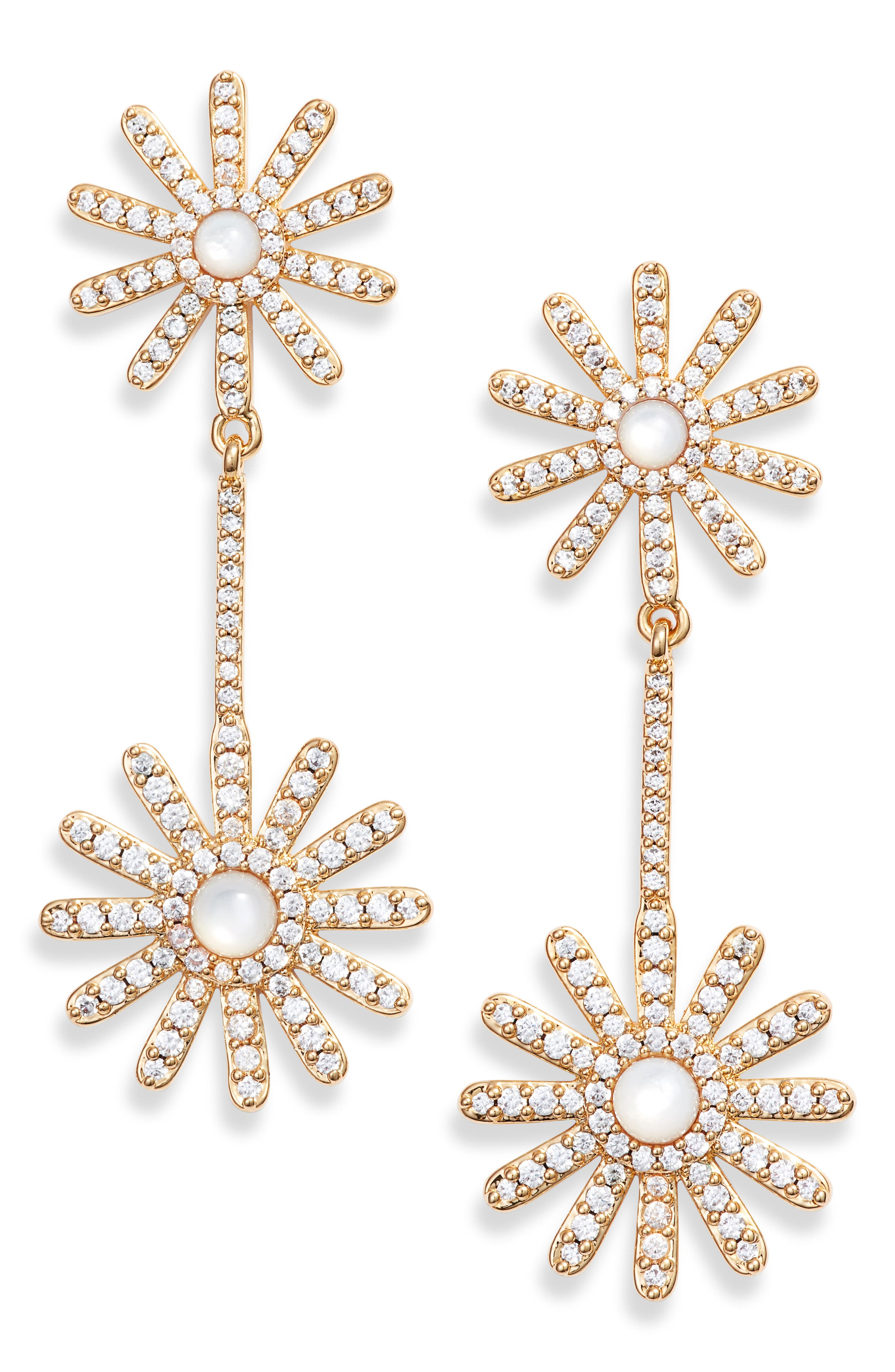 ASHA Daisy Pavé Drop Earrings, Main, color, MOTHER OF PEARL/ GOLD