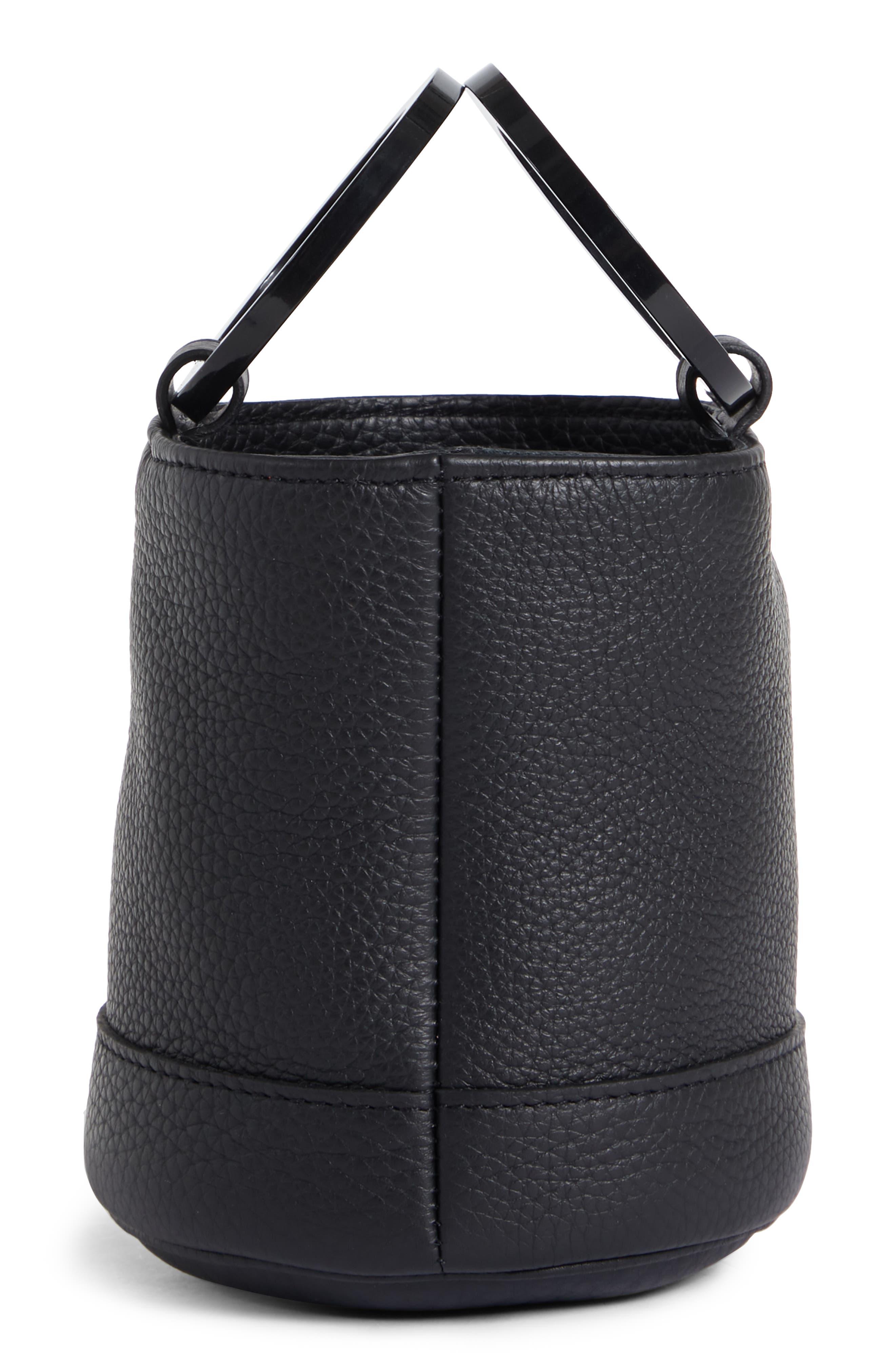 Bonsai 15 Calfskin Leather Bucket Bag,                             Alternate thumbnail 5, color,                             ALL BLACK