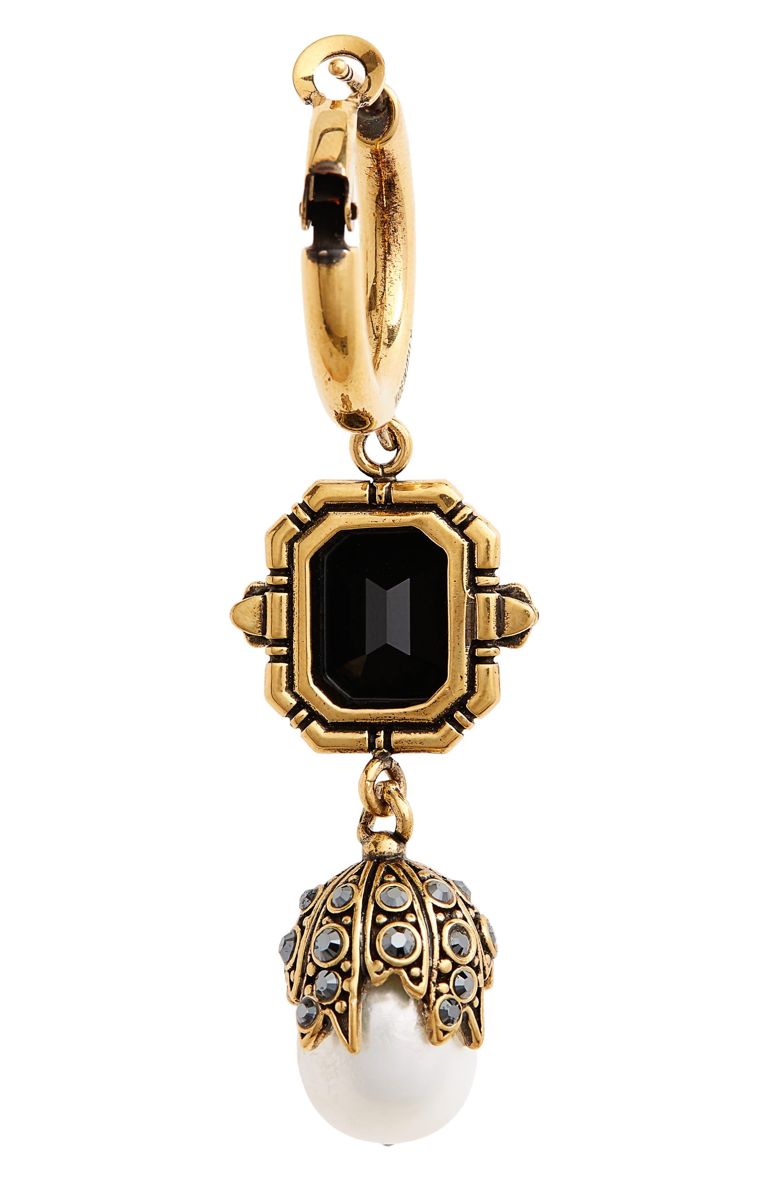 Pearl Drop Earrings,                             Alternate thumbnail 3, color,                             BLACK/ GOLD