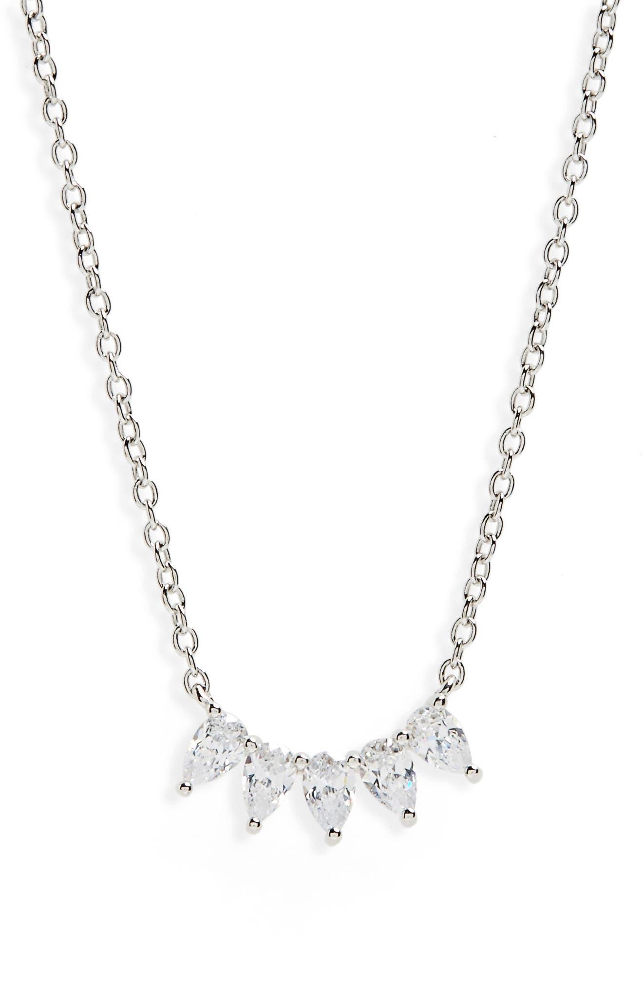 Marquise Cubic Zirconia Pendant Necklace,                         Main,                         color, 040