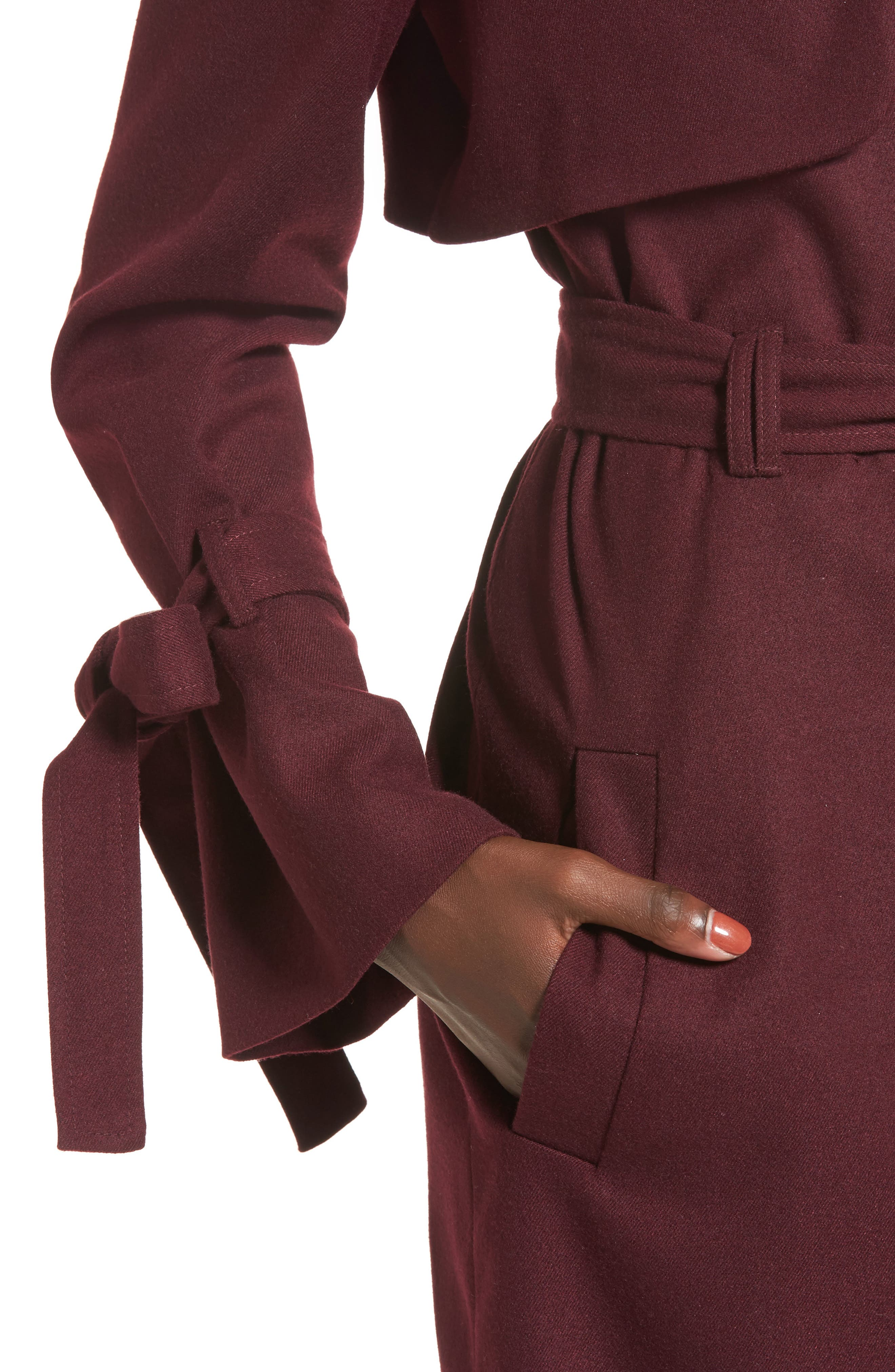 Tie Sleeve Trench Coat,                             Alternate thumbnail 4, color,
