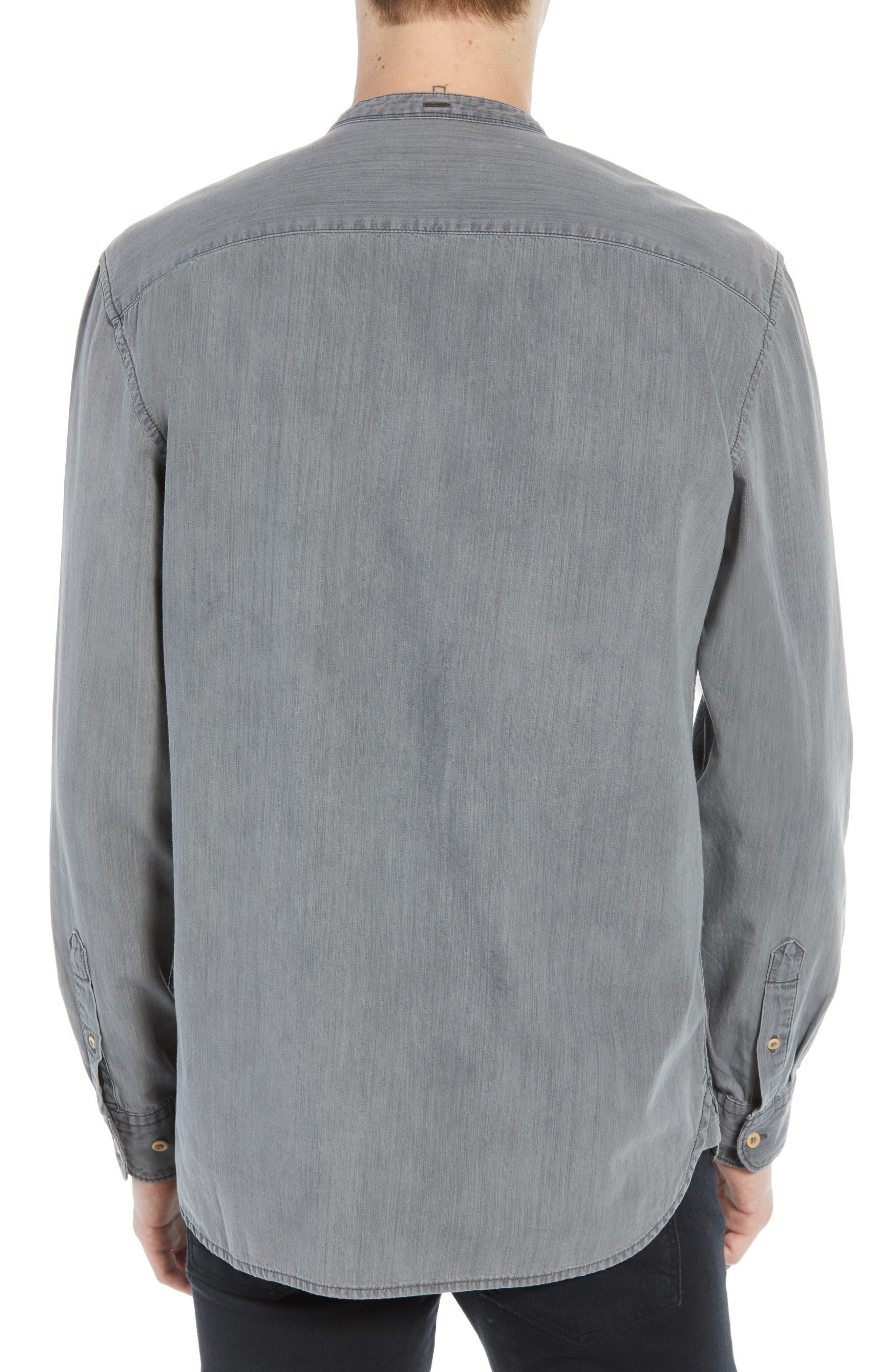 Slim Fit Band Collar Denim Shirt,                             Alternate thumbnail 3, color,                             GREY