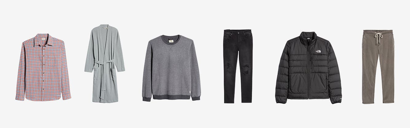 A men's check shirt. A men's robe. A men's grey crewneck sweater. A pair of men's jeans. A men's black jacket from The North Face. Men's drawstring-waist pants.