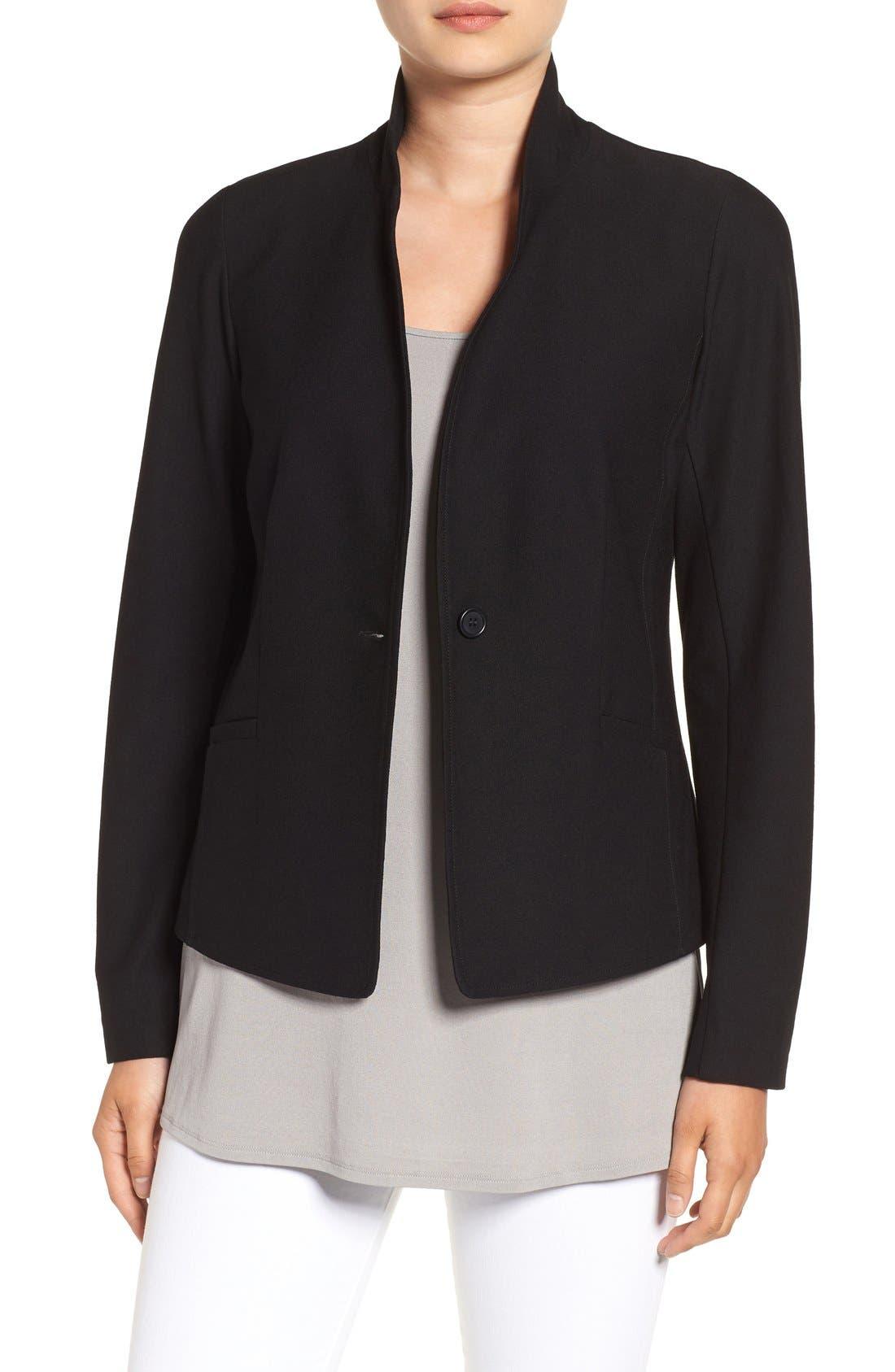 Washable Stretch Crepe Jacket,                             Main thumbnail 1, color,                             BLACK