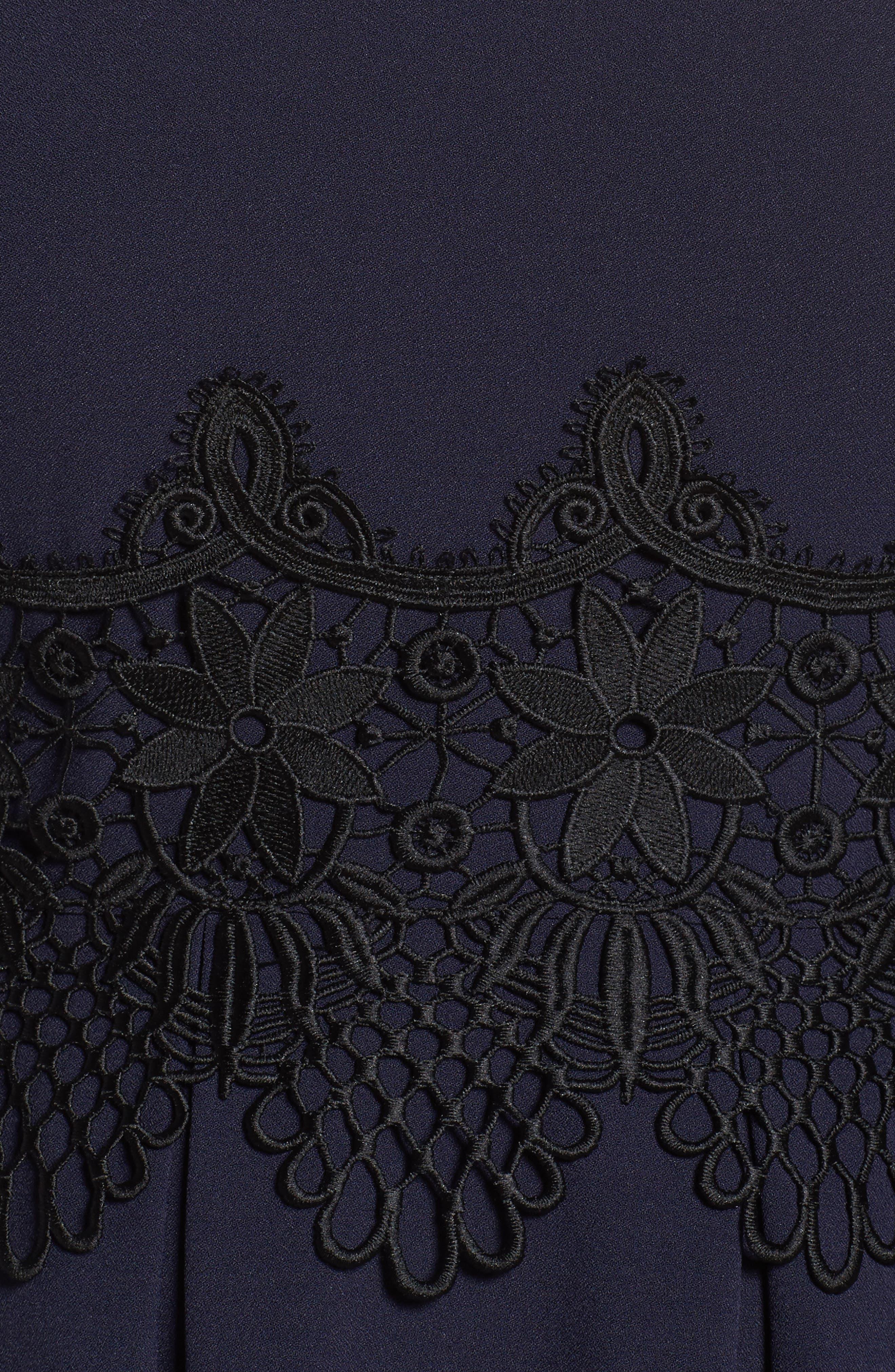 Lace Appliqué A-Line Dress,                             Alternate thumbnail 5, color,                             488