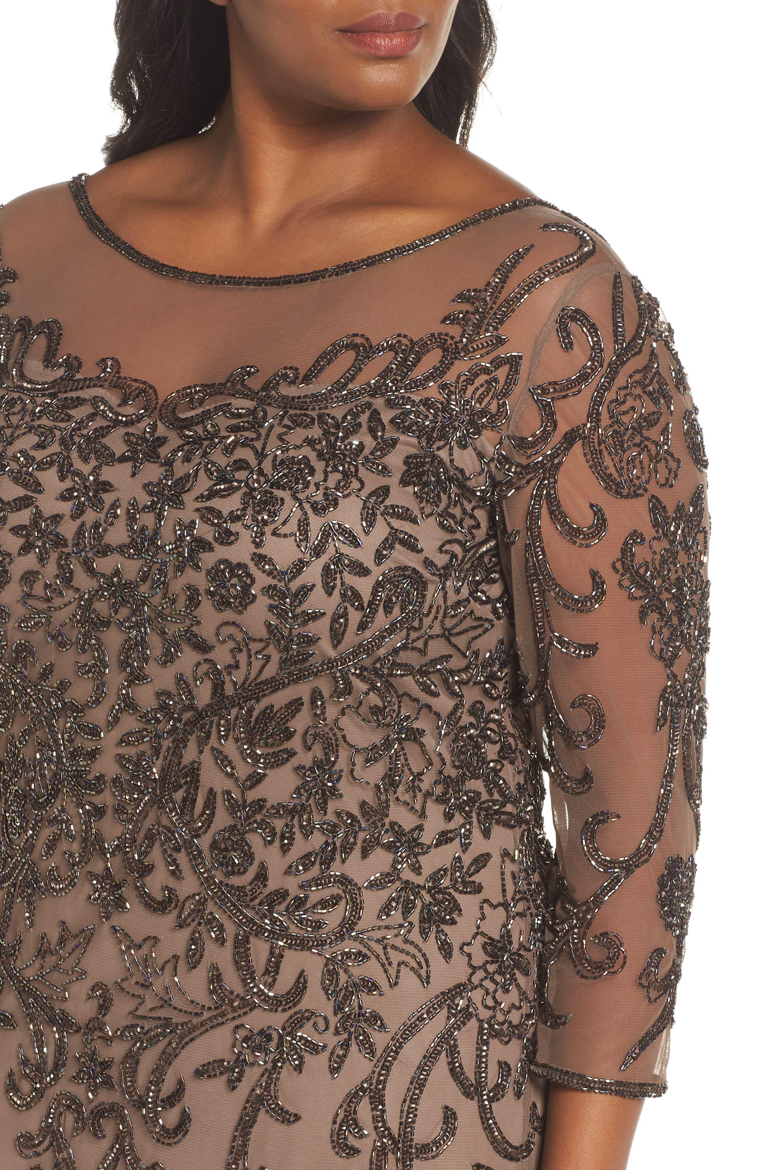 Illusion Sleeve Beaded Sheath Dress,                             Alternate thumbnail 4, color,                             BROWN/ GOLD