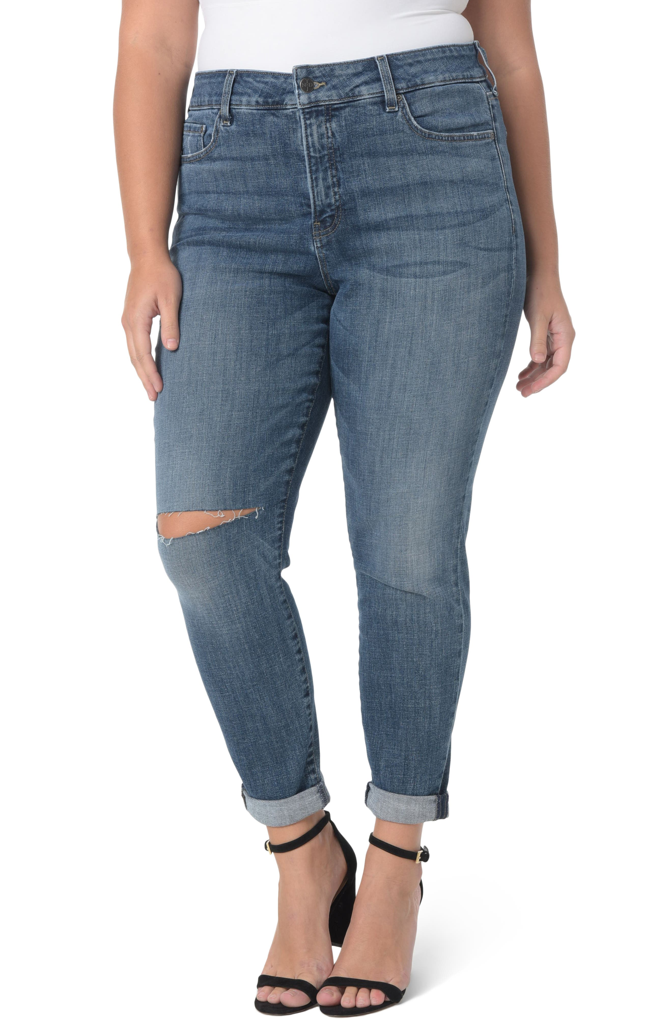 Ripped Skinny Girlfriend Jeans,                             Main thumbnail 1, color,                             403