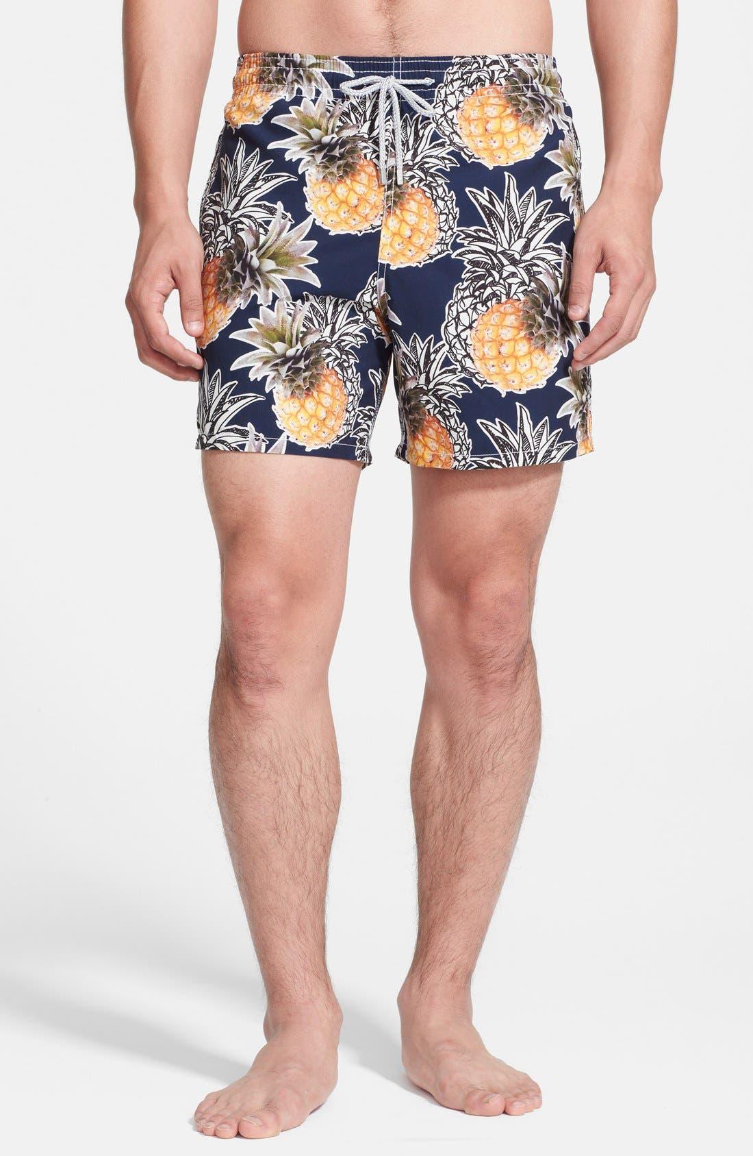 'Moorea' Pineapple Print Swim Trunks,                         Main,                         color, 401