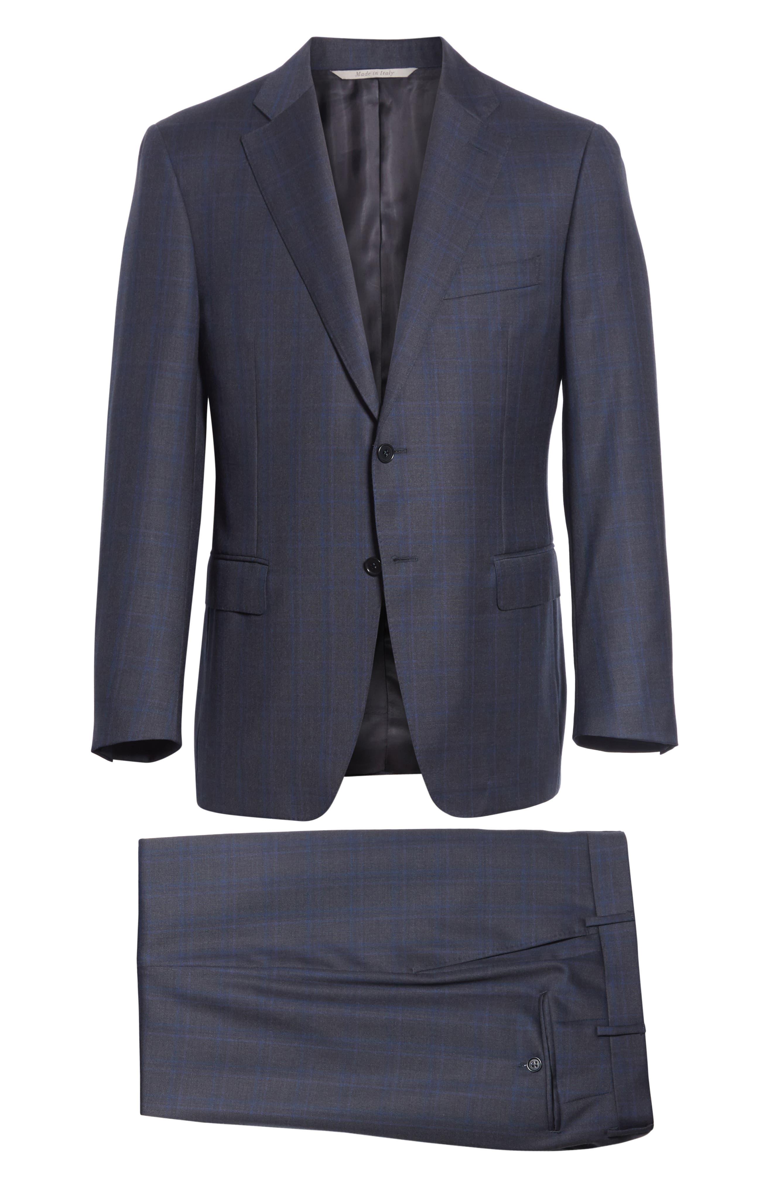 Classic Fit Plaid Wool Suit,                             Alternate thumbnail 7, color,                             CHARCOAL