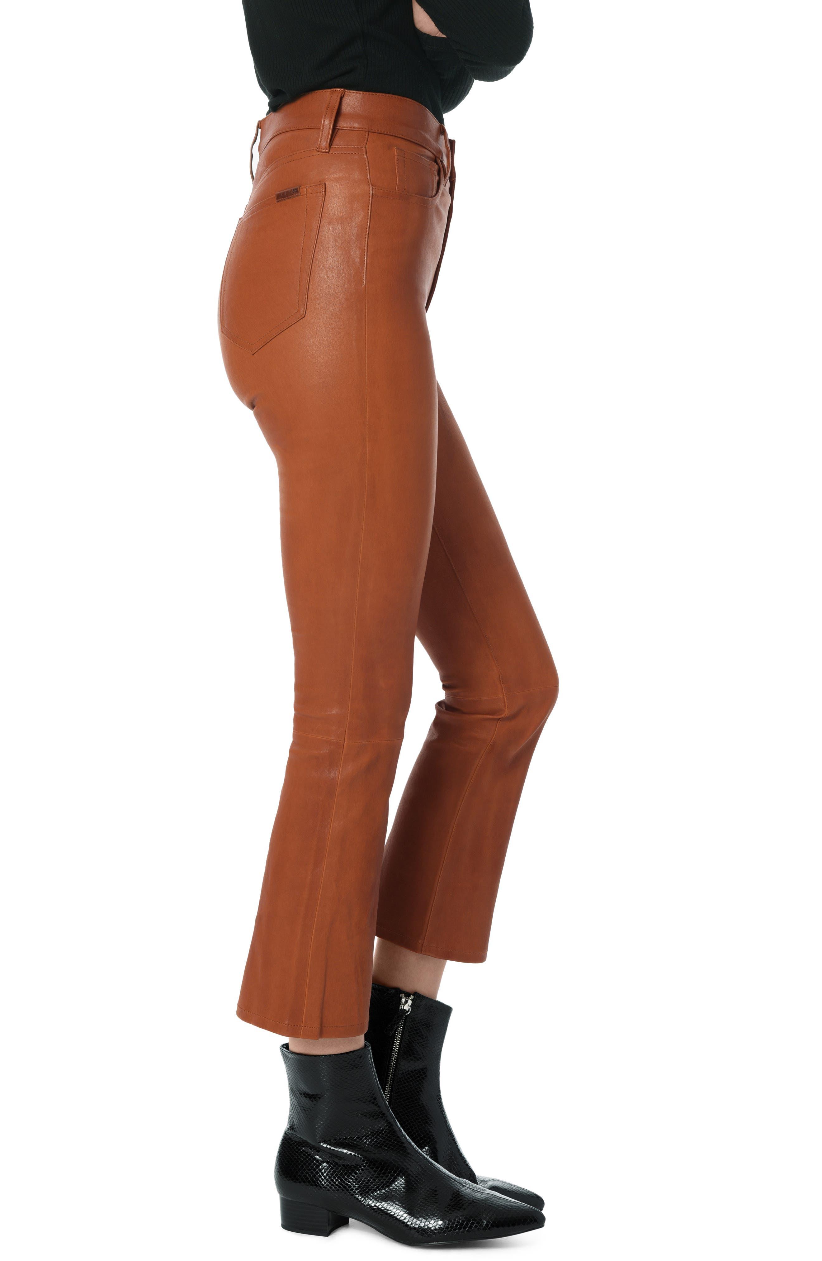 High Waist Crop Bootcut Leather Pants,                             Alternate thumbnail 3, color,                             COGNAC