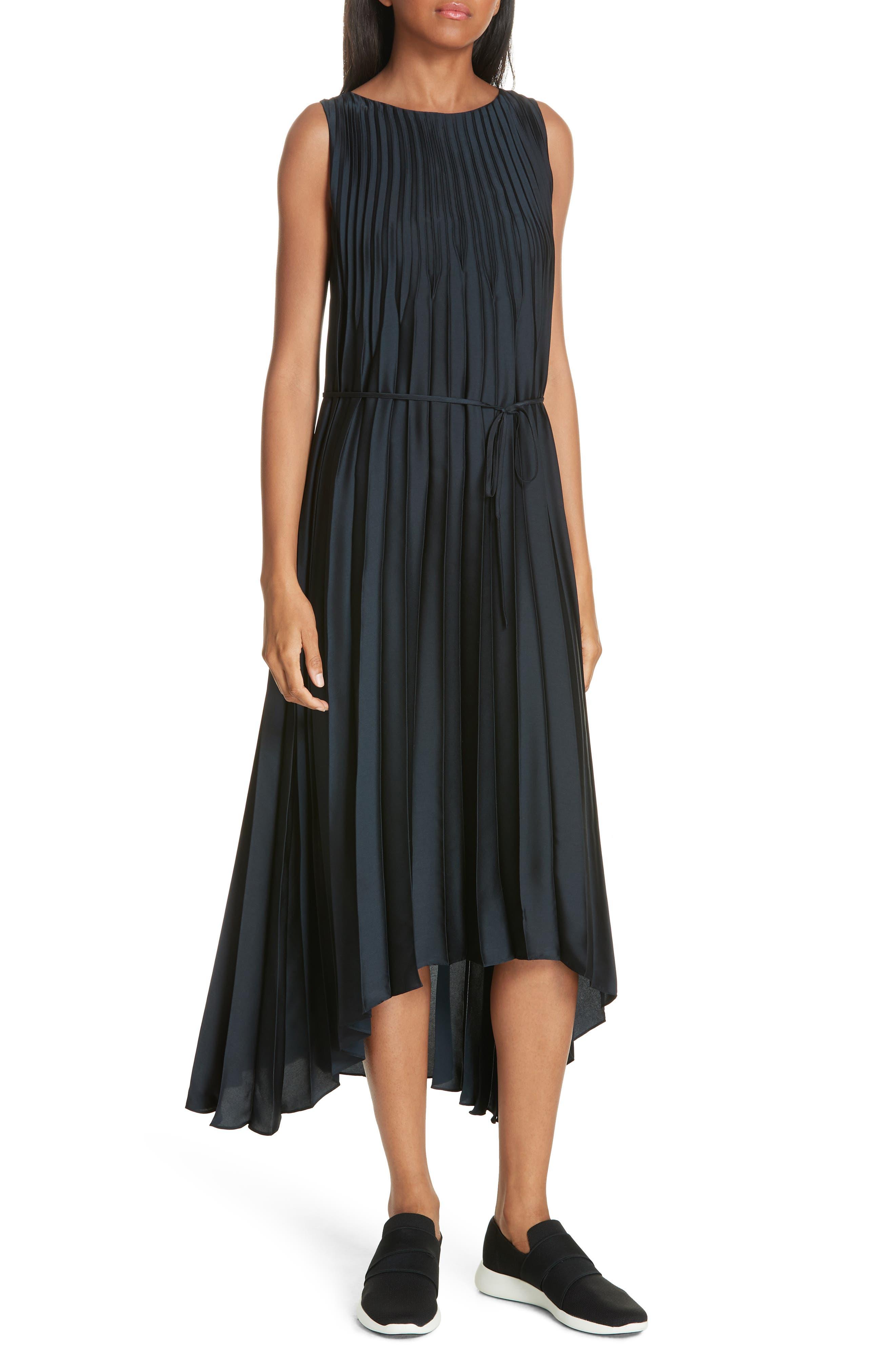 Chevron Pleat Midi Dress,                         Main,                         color, COASTAL