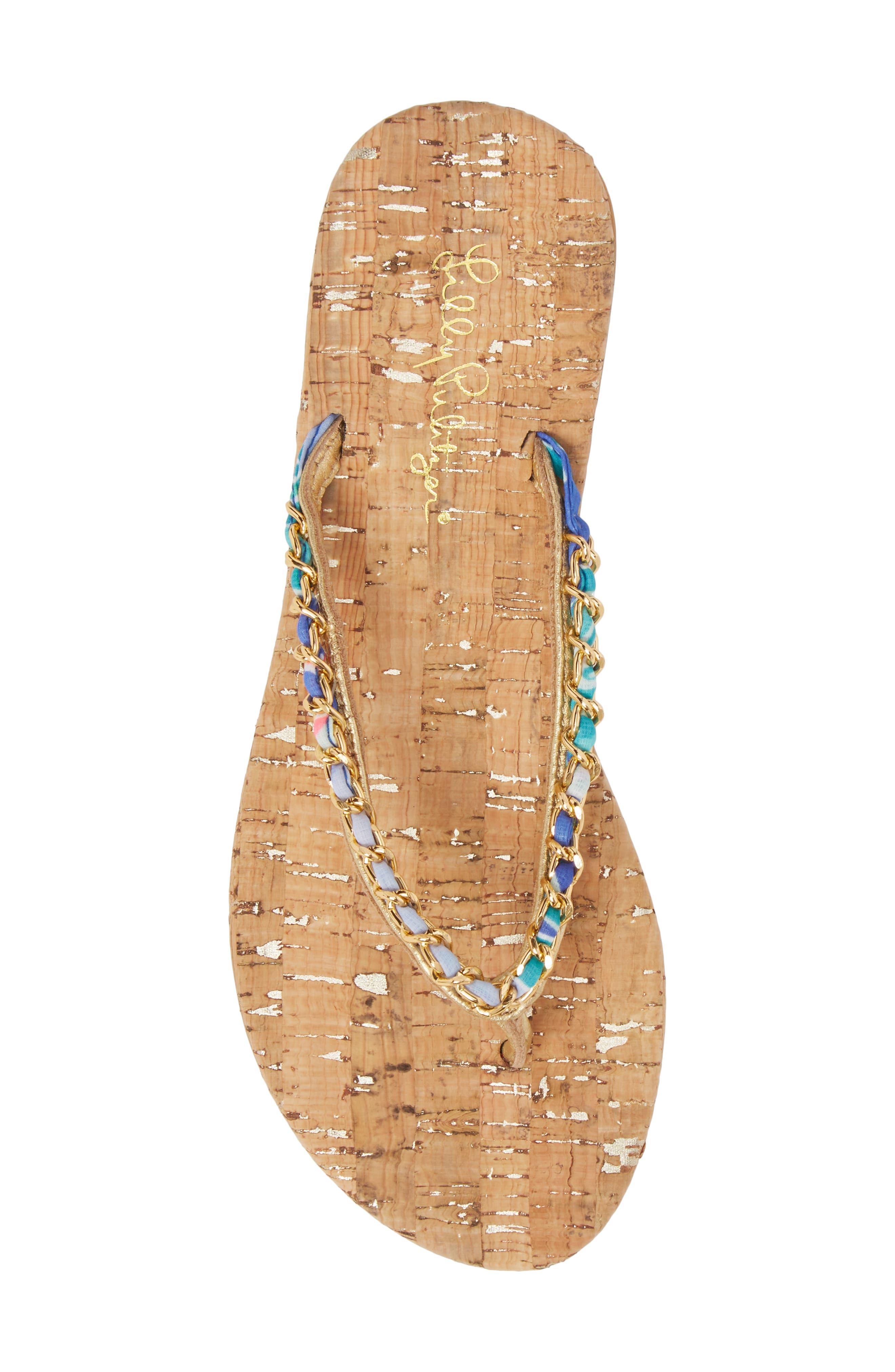Lily Pulitzer<sup>®</sup> Naples Chain Trimmed Flip Flop,                             Alternate thumbnail 5, color,                             NATURAL