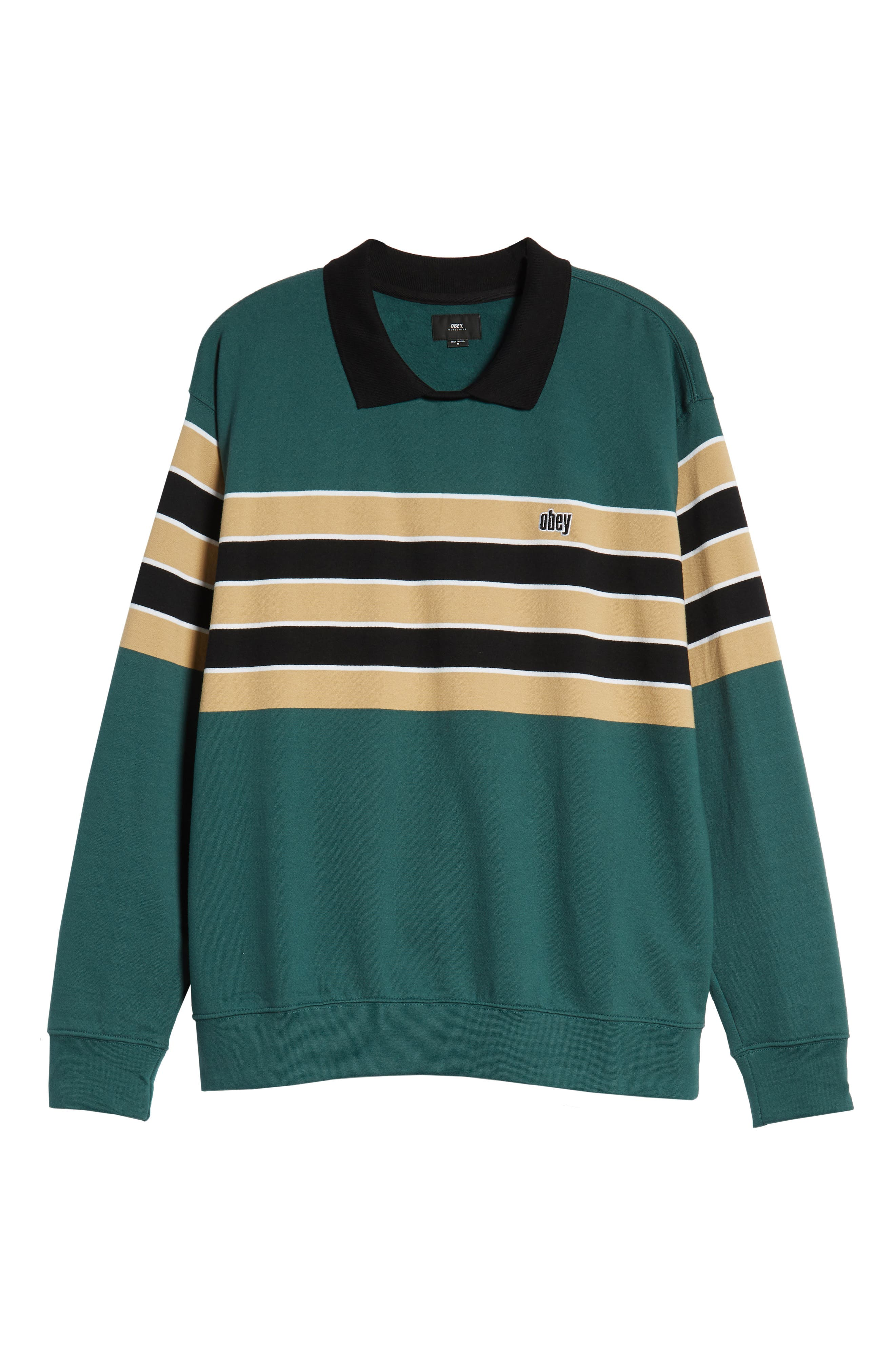 Cupid Striped Polo Collar Sweatshirt,                             Alternate thumbnail 6, color,                             DARK TEAL MULTI