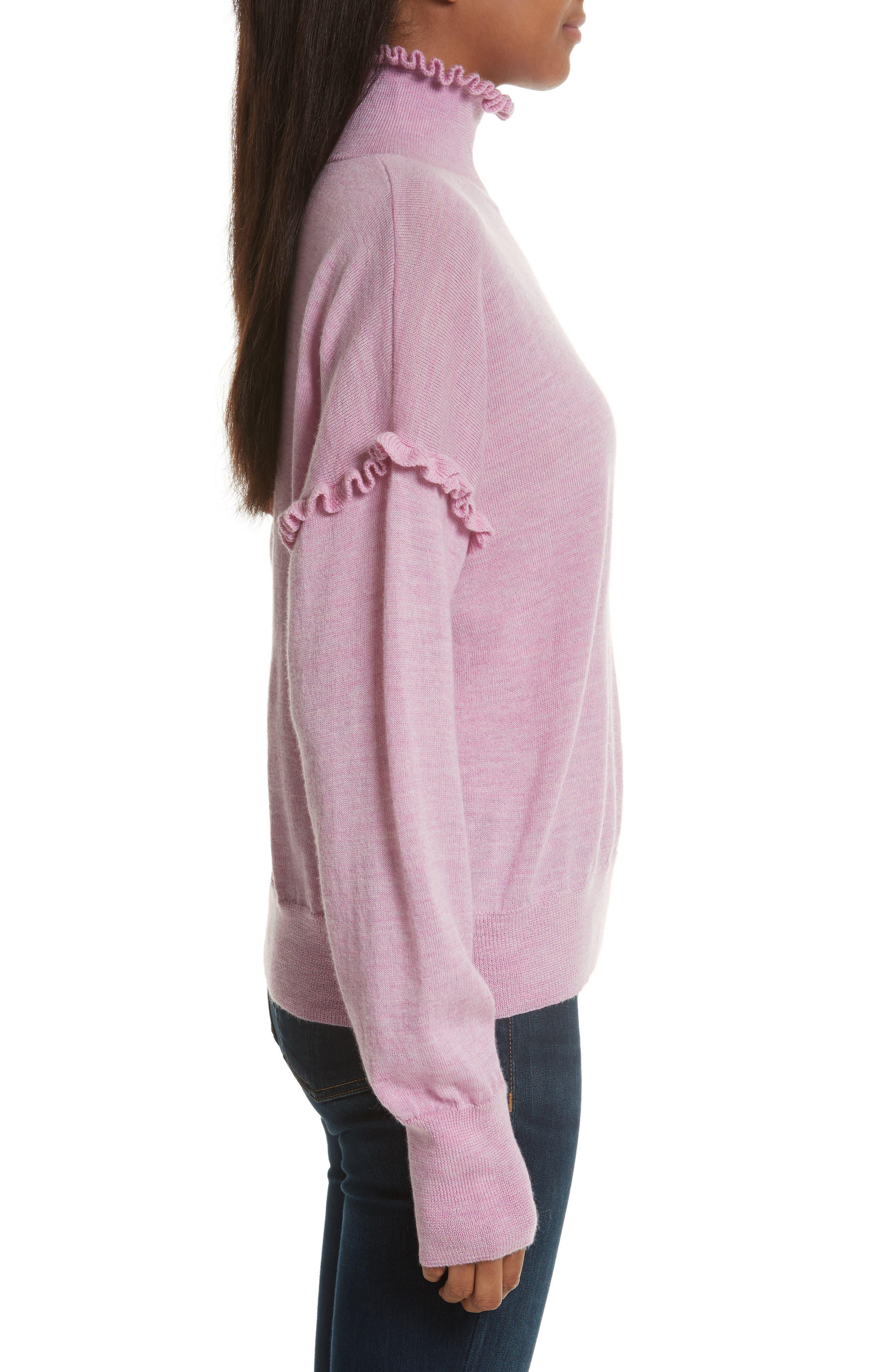 Turtleneck Merino Wool Sweater,                             Alternate thumbnail 3, color,