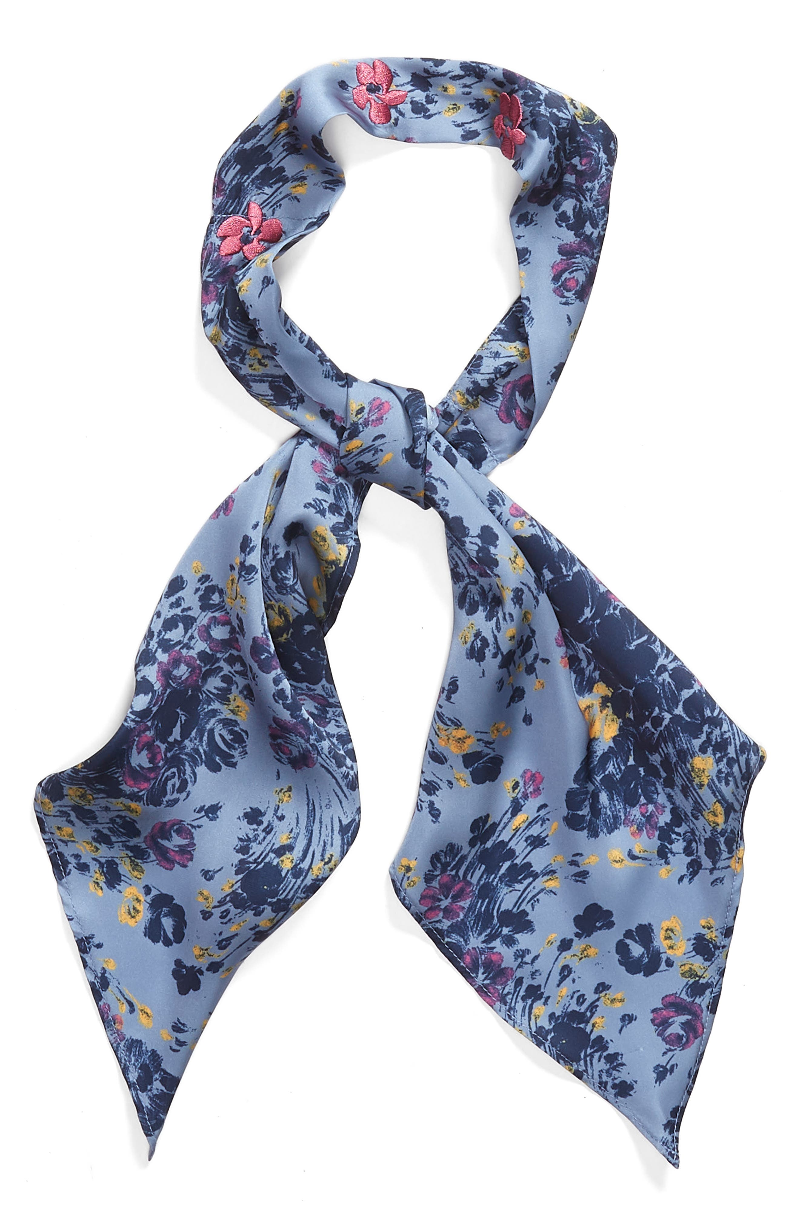 Print Short Tie Scarf,                             Alternate thumbnail 2, color,                             BLUE MINI MOODY FLORAL