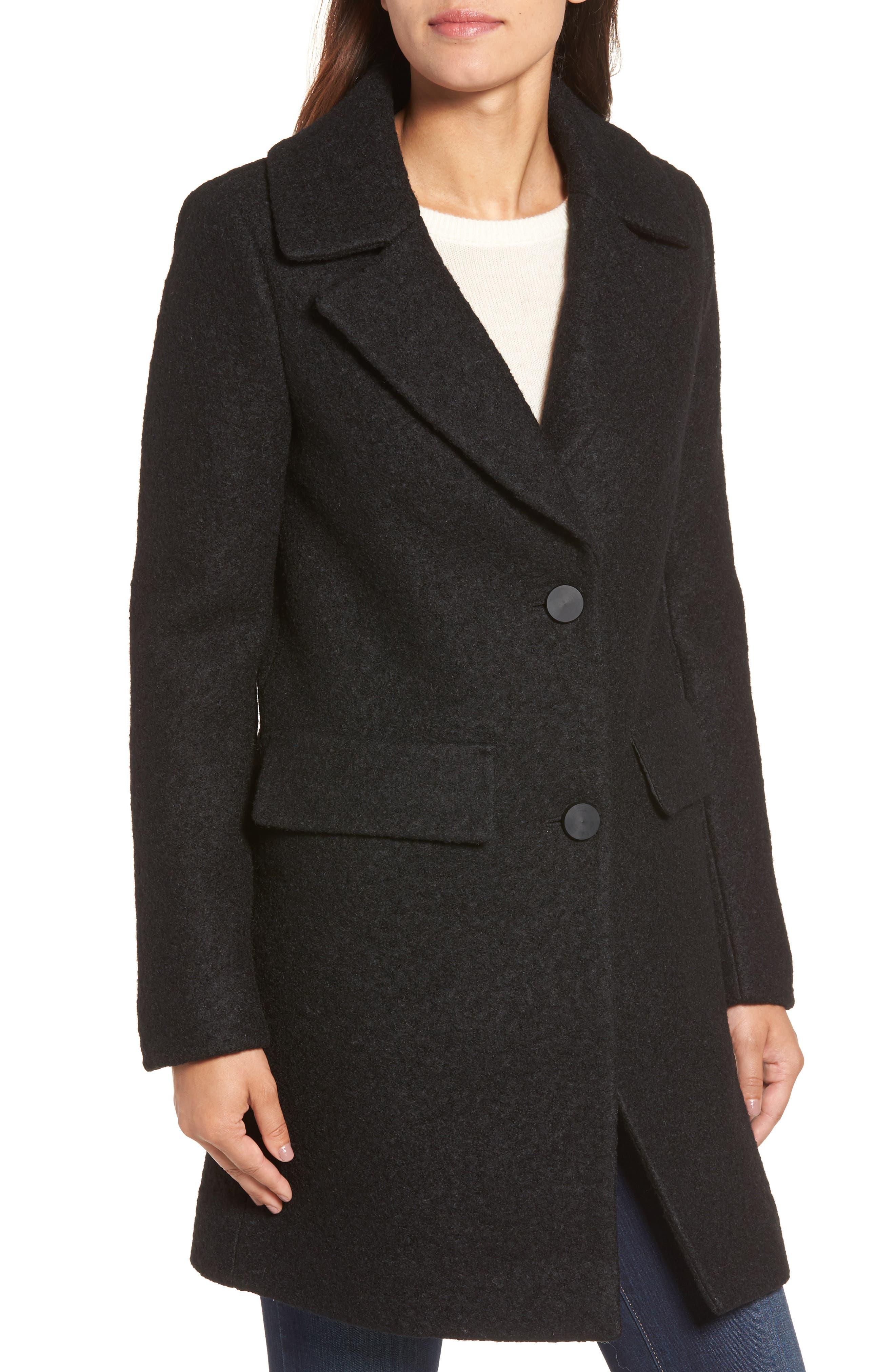 Wool Blend Bouclé Coat,                             Alternate thumbnail 4, color,                             BLACK