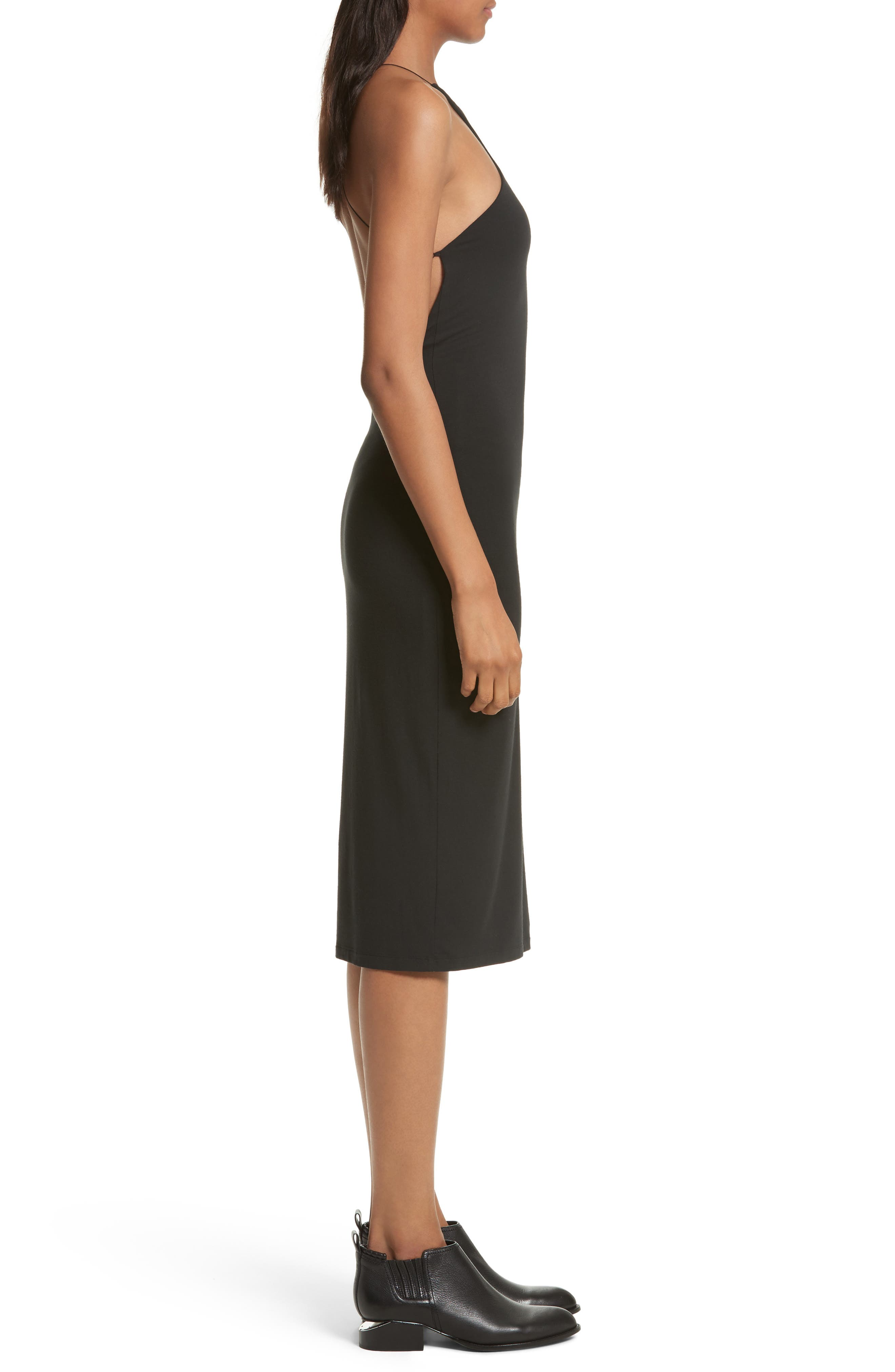T by Alexander Wang Strappy Jersey Body-Con Dress,                             Alternate thumbnail 3, color,                             001