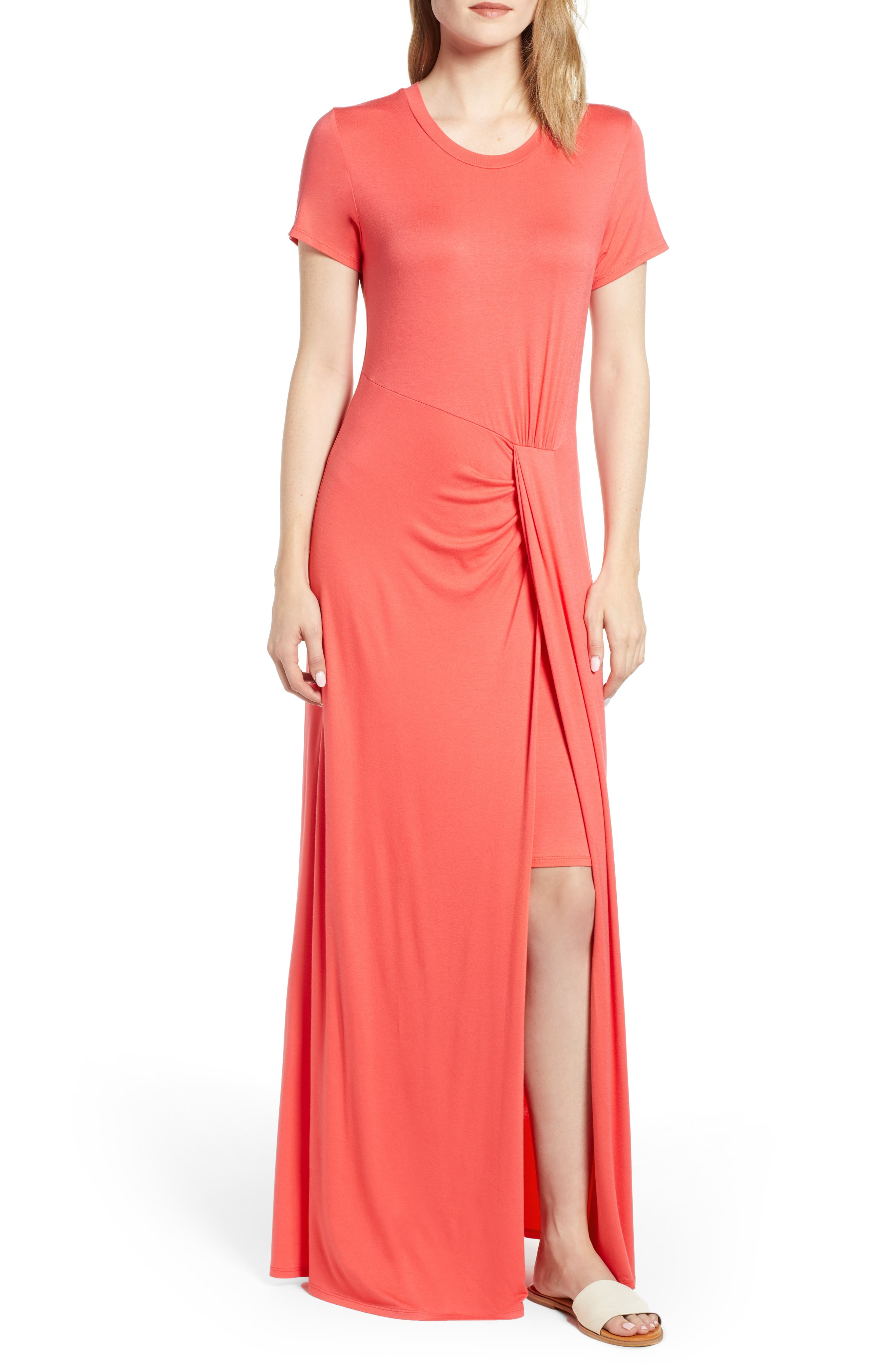 Caslon Front Gathered Maxi Dress, Coral