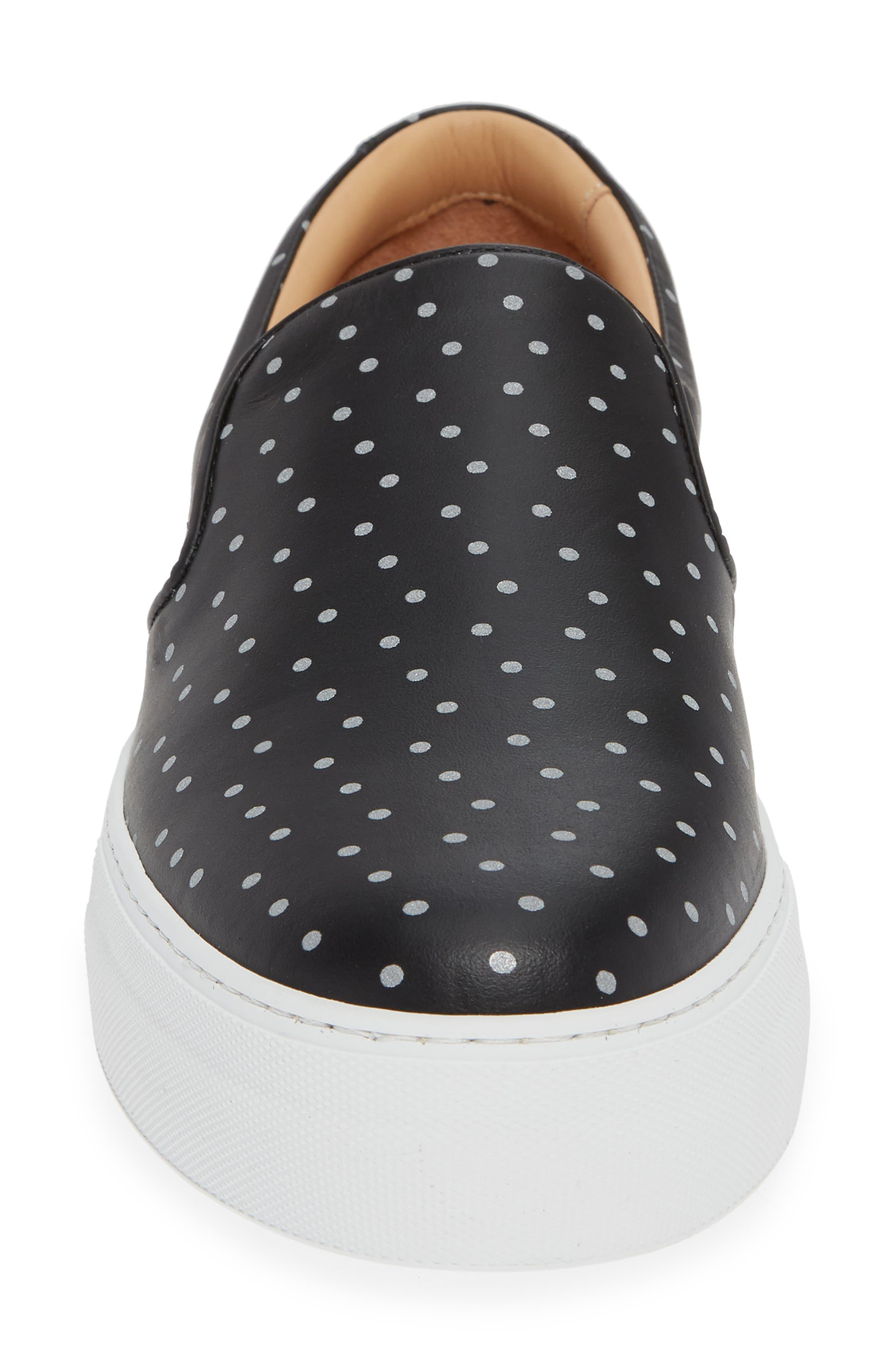 Nick Wooster x GREATS Slip-On Sneaker,                             Alternate thumbnail 4, color,                             BLACK W/ 3M DOTS